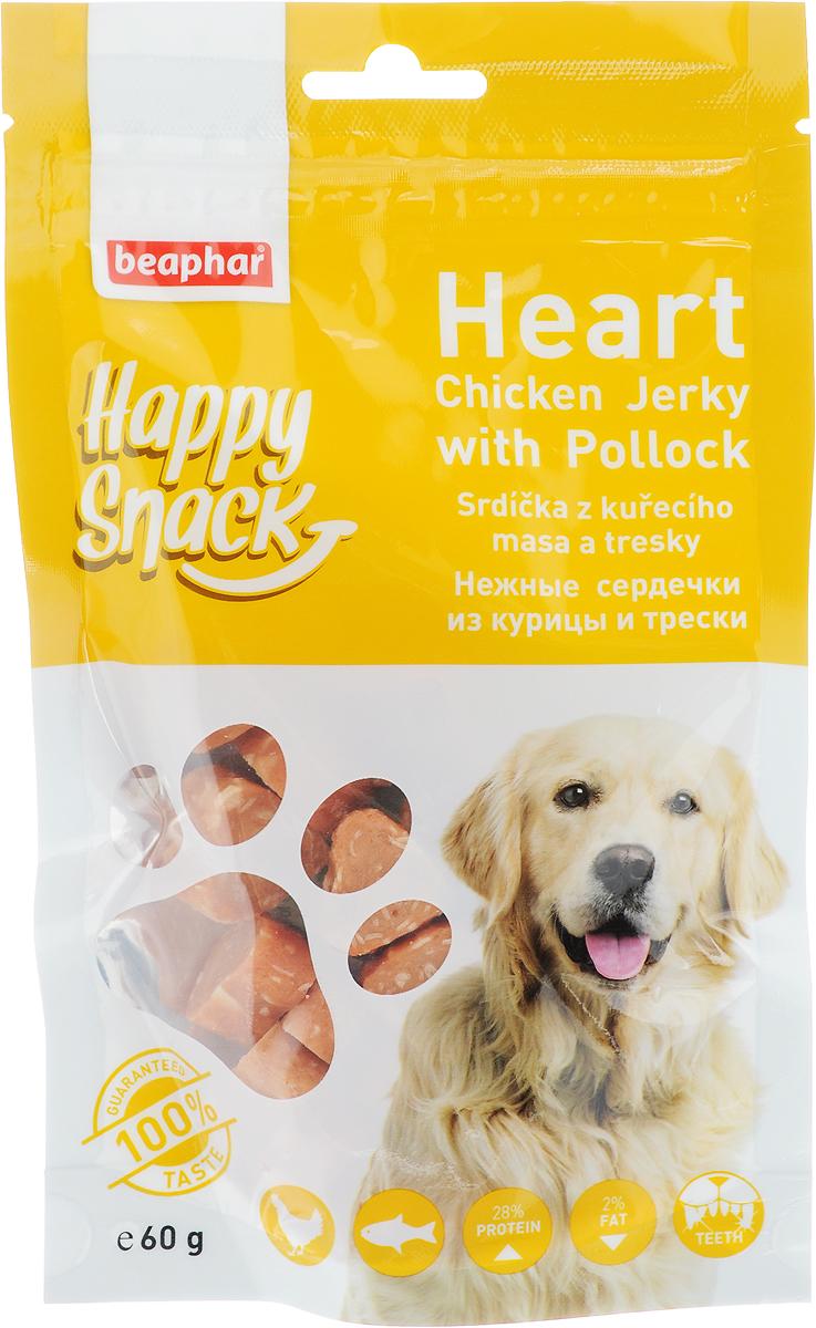Лакомство для собак Beaphar Happy Snack, нежные сердечки из курицы и трески, 60 г0120710Лакомство для собак Beaphar Happy Snack - дополнительный корм для взрослых собак старше 6-месячного возраста в виде нежных сердечек с курицей и треской. Продукт станет излюбленным лакомством, а также прекрасным вознаграждением при дрессуре. Специальный замок zip-lock на упаковке позволяет дольше хранить лакомство. Товар сертифицирован.