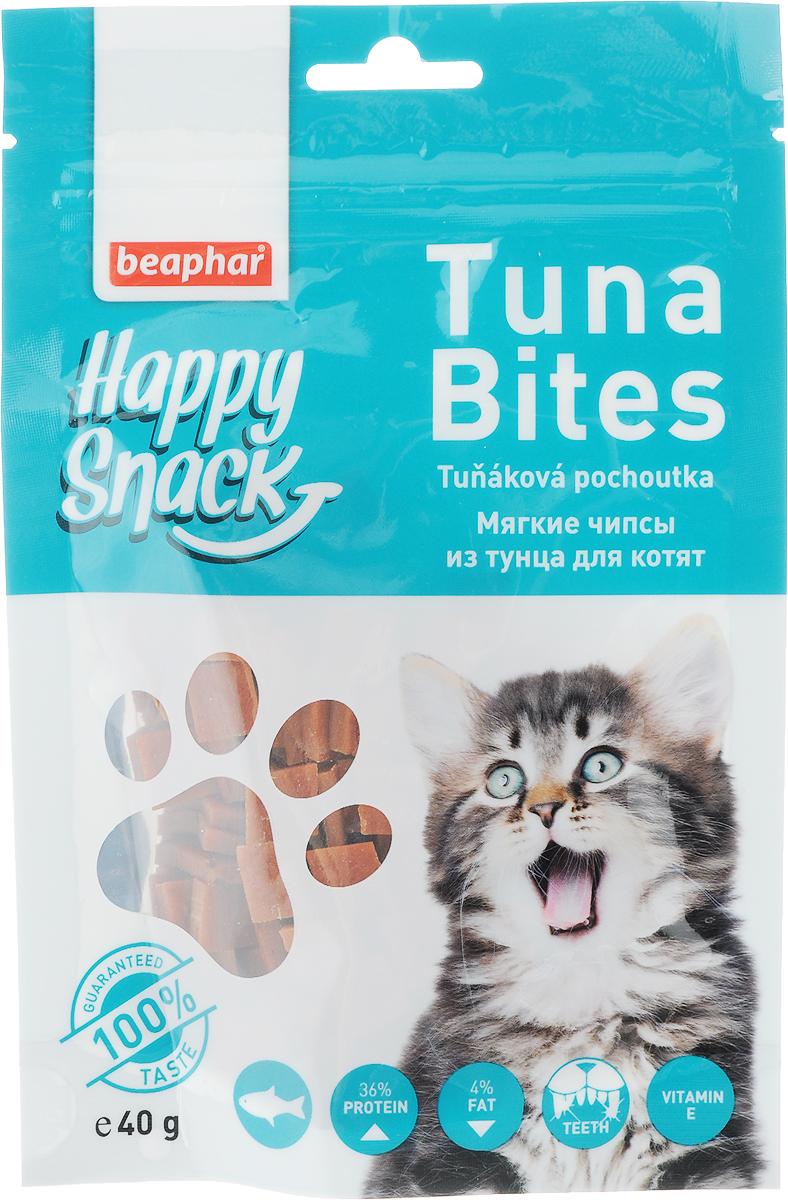 Лакомство для котят Beaphar Happy Snack, мягкие чипсы из тунца, 40 г0120710Лакомство для котят Beaphar Happy Snack - дополнительный корм для кошек и котят с 3-месячного возраста в виде небольших кусочков из мяса тунца. Лакомство понравится даже самым искушенным кошачьим гурманам. Специальный замок zip-lock на упаковке позволяет дольше хранить лакомство. Товар сертифицирован.