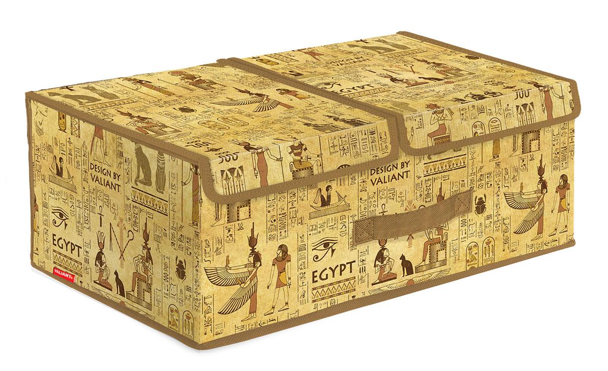 Короб стеллажный Valiant Egypt, двухсекционный, 50 х 30 х 20 см1004900000360Стеллажный короб Valiant Egypt изготовлен из высококачественного нетканого материала, который обеспечивает естественную вентиляцию, позволяя воздуху проникать внутрь, но не пропускает пыль. Вставки из плотного картона хорошо держат форму. Короб снабжен двумя секциями и специальными крышками, которые фиксируются с помощью липучек. Изделие отличается мобильностью: легко раскладывается и складывается. В таком коробе удобно хранить одежду, белье и мелкие аксессуары. Красивый авторский дизайн прекрасно впишется в интерьер. Система хранения Valiant Egypt в едином дизайне сделают вашу гардеробную изысканной и невероятно стильной.