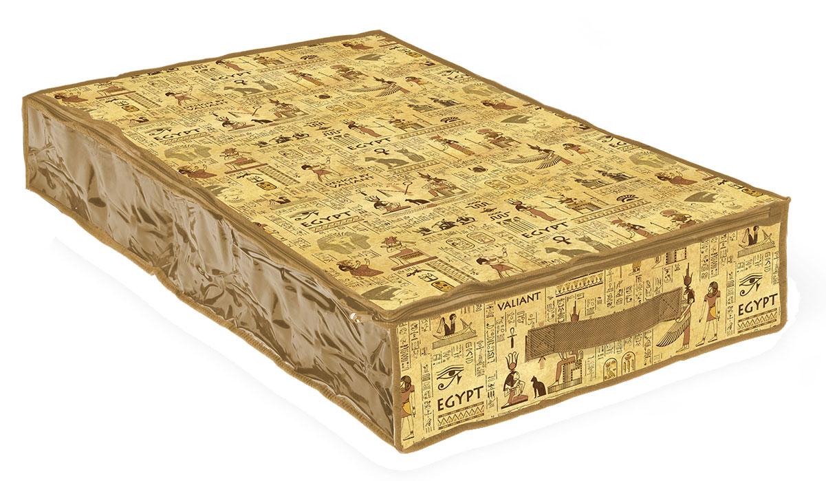 Кофр для хранения Valiant Egypt, 100 х 50 х 15 смМ 2377Вместительный кофр Valiant Egypt изготовлен из высококачественного прочного нетканого материала и предназначен для долговременного хранения вещей. Кофр закрывается крышкой на застежку-молнию. Одна из боковых сторон выполнена из прозрачного ПВХ, что позволяет видеть содержимое. Для удобства в обращении имеется ручка. Кофр защитит ваши вещи от повреждений, пыли, влаги и загрязнений во время хранения и транспортировки. Он пропускает воздух и отталкивает воду. Изделие гармонично смотрится в любом интерьере, привнося в него изысканность и дизайнерскую изюминку. Кофр - это новый взгляд на систему хранения - теперь хранить вещи не только удобно, но и красиво. Размер кофра: 100 х 20 х 15 см.