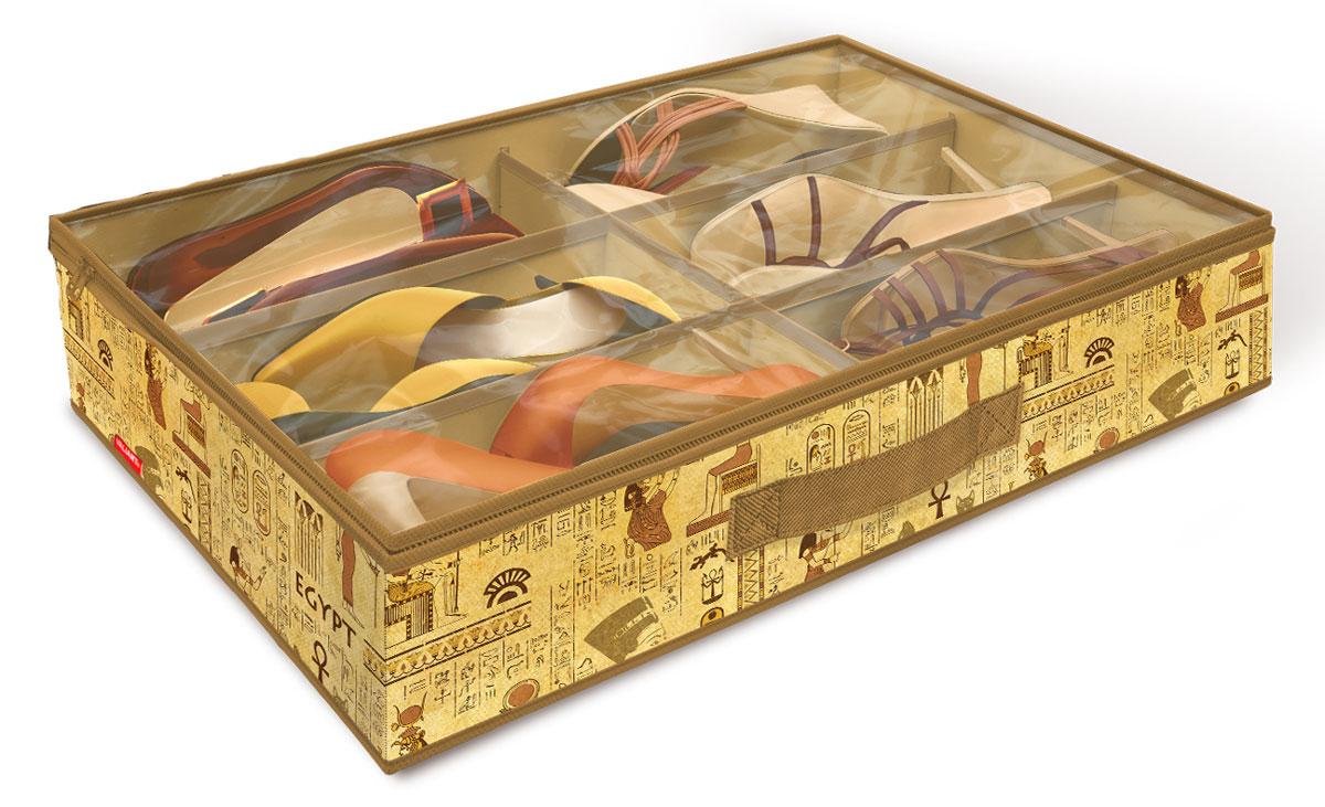 Кофр для хранения обуви Valiant Egypt, 6 секций, 60 х 40 х 12 см74-0060Вместительный кофр Valiant Egypt изготовлен из высококачественного прочного нетканого материала и предназначен для долговременного хранения обуви. Кофр, закрывающийся крышкой на застежку-молнию, содержит 6 секций. Крышка из прозрачного ПВХ позволяет видеть содержимое. Для удобства в обращении имеется ручка. Кофр защитит вашу обувь от повреждений, пыли, влаги и загрязнений во время хранения и транспортировки. Он пропускает воздух и отталкивает воду. Изделие гармонично смотрится в любом интерьере, привнося в него изысканность и дизайнерскую изюминку. Кофр - это новый взгляд на систему хранения - теперь хранить вещи не только удобно, но и красиво. Размер кофра: 60 х 40 х 12 см. Количество секций: 6 шт.