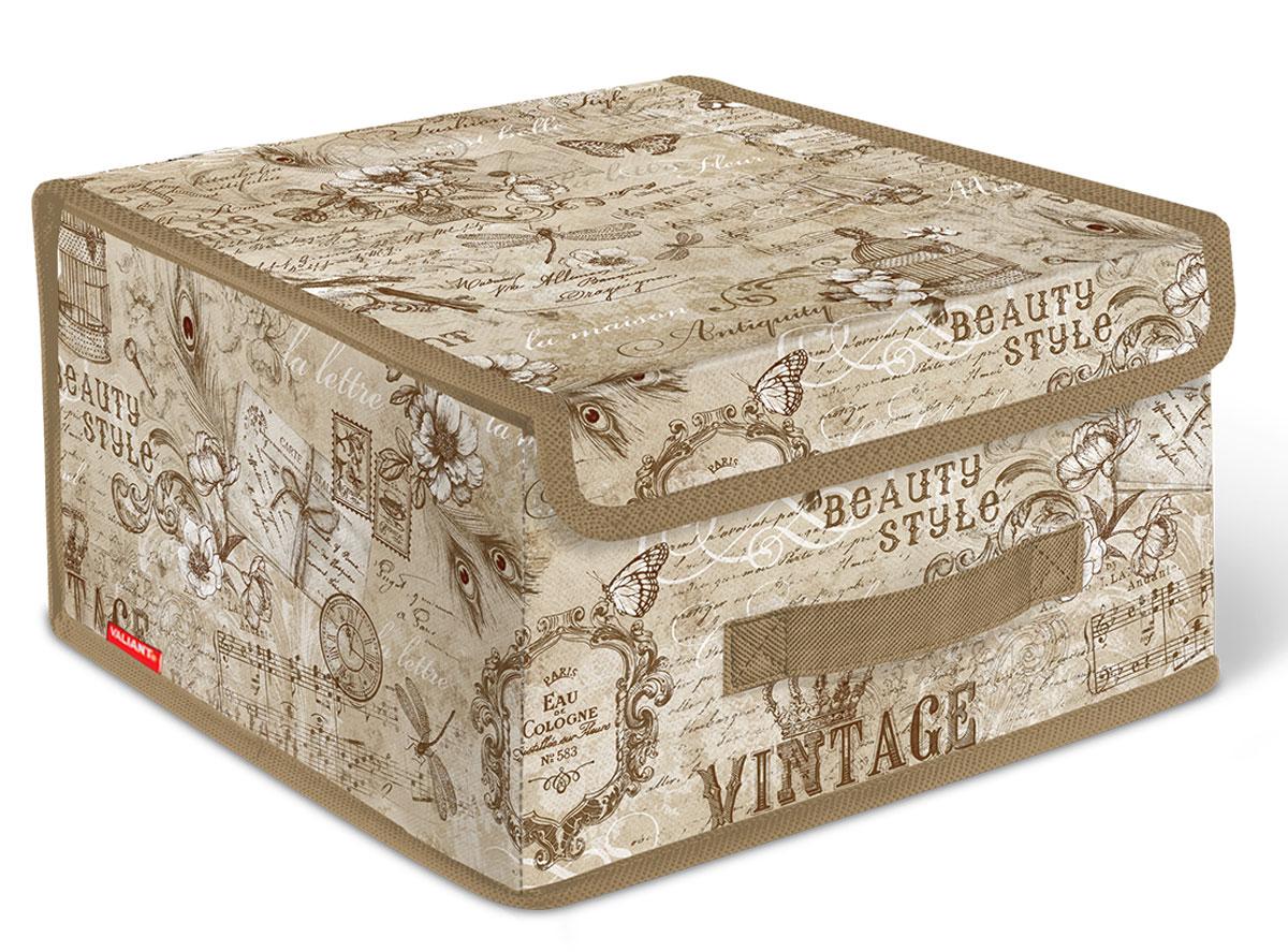 Короб стеллажный Valiant Vintage, с крышкой, 28 x 30 x 16 смБрелок для ключейСтеллажный короб Valiant Vintage изготовлен из высококачественного нетканого материала, который обеспечивает естественную вентиляцию, позволяя воздуху проникать внутрь, но не пропускает пыль. Вставки из плотного картона хорошо держат форму. Короб снабжен специальной крышкой, которая фиксируется с помощью двух магнитов. Изделие отличается мобильностью: легко раскладывается и складывается. В таком коробе удобно хранить одежду, белье и мелкие аксессуары.Системы хранения в едином дизайне сделают вашу гардеробную изысканной и невероятно стильной.