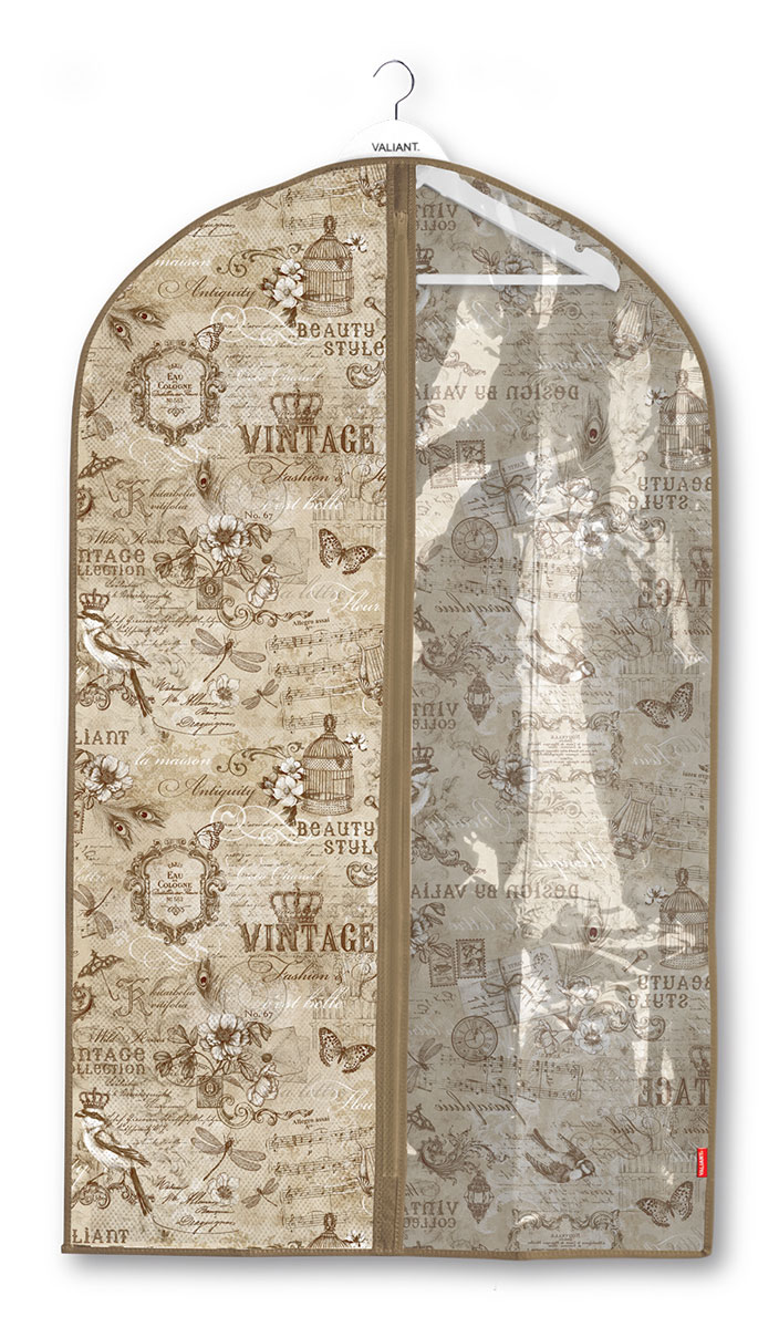 Чехол для одежды Valiant Vintage, с прозрачной вставкой, 60 x 100 см74-0120Чехол для одежды Valiant Vintage изготовлен из высококачественного нетканого материала, который обеспечивает естественную вентиляцию, позволяя воздуху проникать внутрь, но не пропускает пыль. Чехол закрывается на застежку-молнию. Лицевая сторона чехла дополнена прозрачной вставкой из ПВХ, которая позволяет видеть содержимое. Идеально подойдет для хранения одежды и удобной перевозки. Оригинальный дизайн придется по вкусу ценительницам эстетичного хранения.