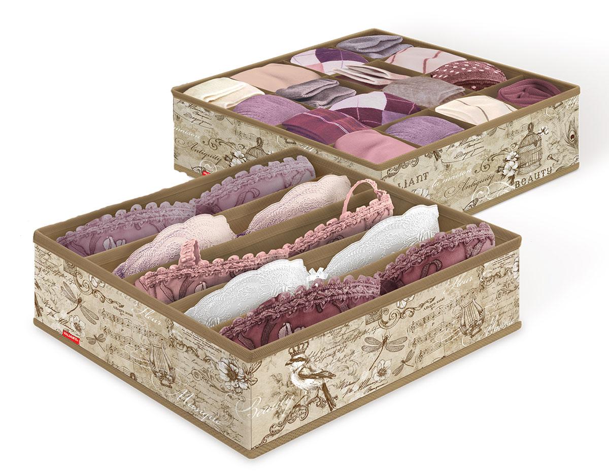 Набор органайзеров для белья Valiant Vintage, 32 x 32 x 10 см, 2 штVN-S16S5Органайзеры Valiant Vintage изготовлены из высококачественного нетканого материала, который позволяет сохранять естественную вентиляцию, а воздуху свободно проникать внутрь, не пропуская пыль. Благодаря специальным вставкам, органайзеры прекрасно держат форму, а эстетичный дизайн гармонично смотрится в любом интерьере. Один органайзер имеет 5 секций, второй - 16. Мобильность конструкции обеспечивает складывание и раскладывание одним движением.Комплектация: 2 шт.Размер органайзера: 32 х 32 х 10 см.