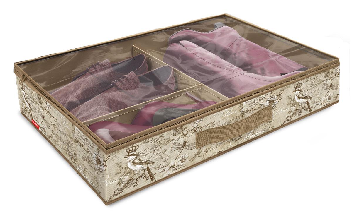 Кофр для хранения обуви Valiant Vintage, 6 секций, 60 x 40 x 12 смU210DFВместительный кофр Valiant Vintage изготовлен из высококачественного прочного нетканого материала и предназначен для долговременного хранения обуви. Кофр, закрывающийся крышкой на застежку-молнию, содержит 6 секций. Перегородки легко убираются. Крышка из прозрачного ПВХ позволяет видеть содержимое. Для удобства в обращении имеется ручка. Кофр защитит вашу обувь от повреждений, пыли, влаги и загрязнений во время хранения и транспортировки. Он пропускает воздух и отталкивает воду. Изделие гармонично смотрится в любом интерьере, привнося в него изысканность и дизайнерскую изюминку. Кофр - это новый взгляд на систему хранения - теперь хранить вещи не только удобно, но и красиво. Размер кофра: 60 х 40 х 12 см. Количество секций: 6 шт.