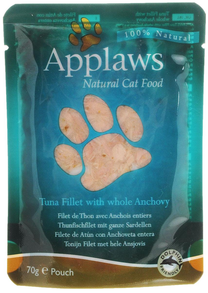 Консервы для кошек Applaws, с тунцом и анчоусами, 70 г24364Консервы Applaws изготовлены из нежнейшего филе тунца в собственном бульоне с добавлением анчоусов. В состав корма входят только натуральные продукты, питательные и минеральные вещества, белки, и ничего лишнего. Не содержит ГМО, синтетических добавок, усилителей вкуса и красителей. Консервы Applaws - это настоящее удовольствие для кошек.Состав: филе тунца 60%, рыбный бульон 24%, морская капуста 10%, анчоусы 5%, рис 1%.Гарантированный анализ: белок 18%, жиры 0,4%, зола 1%, клетчатка 0,1%, влага 77%.Товар сертифицирован.