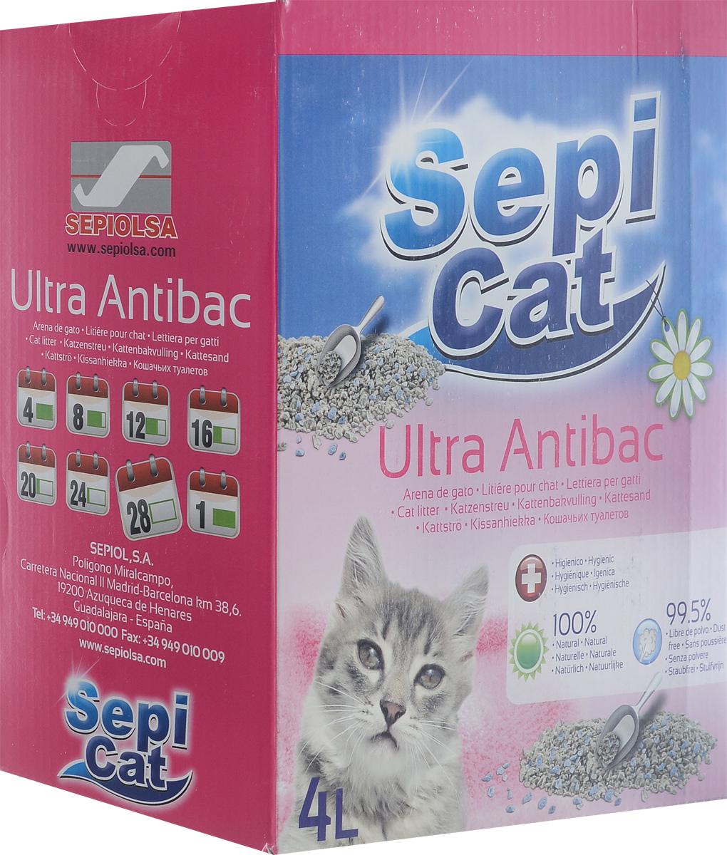 Наполнитель для кошачьих туалетов SepiCat Ультра. Антибактериальный, комкующийся, 4 л0120710Экологически чистый антибактериальный комкующийся наполнитель SepiCat Ультра. Антибактериальный изготовлен из 100% натуральных минеральных компонентов. Безопасен для животного и для человека. Инновационная антибактериальная формула обеспечит исключительную гигиеничность лотка, защищая вашего питомца и дом от бактерий. Обладает превосходными комкующими свойствами. При контакте с жидкостью образует плотные компактные комки. Не пылит. Эффективно поглощает неприятные запахи. Антибактериальные ароматические гранулы активируются при контакте с жидкостью, что обеспечит чистоту и комфорт на продолжительное время.Состав: бентонит, антибактериальные добавки.Товар сертифицирован.