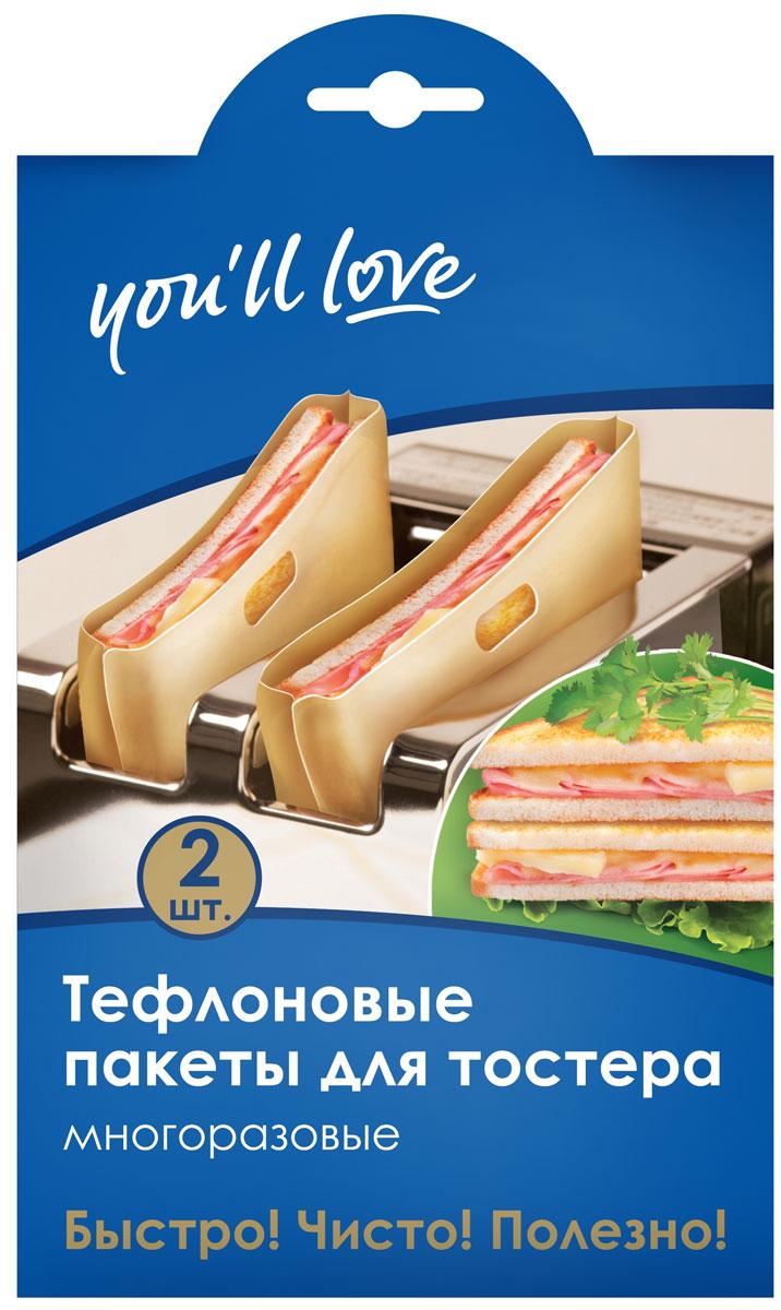 Набор многоразовых пакетов для тостера Youll love, тефлоновые, 2 шт21395598Многоразового использования. Для приготовления бутербродов в обычном тостере за несколько минут. Сохранит тостер от загрязнений. Жаростойкие. Не требует использования жира или масла. Удобные ручки. Легкие в уходе.