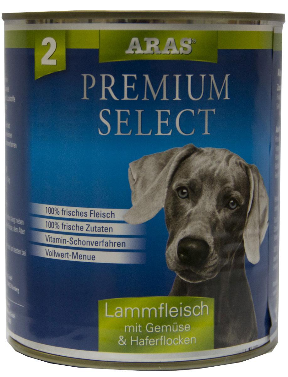 Консервы для собак Aras Premium Select, с бараниной, овощами и овсяными хлопьями, 820 г консервы для кошек aras premium deluxe паштет с домашней птицей 100 г