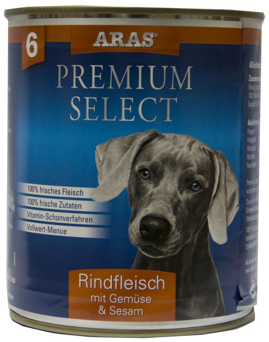 Консервы для собак Aras Premium Select, с говядиной, овощами и кунжутом, 820 г5649101Консервы для собак Aras Premium Select - повседневный консервированный корм для собак всех пород и всех возрастов. Бережная обработка отборных ингредиентов высочайшего качества, используемых при изготовлении корма, обеспечивает вашего питомца здоровым и сбалансированным питанием. Благодаря содержанию высококачественного белка, полученного из свежего мяса, вашему питомцу требуется меньшее количества корма, чем кормов других марок. Особенности корма: - 80% содержание мяса- Изготовлен из 100% свежего мяса, пригодного в пищу человеку- Без химических красителей и усилителей вкуса- Без консервантов- Без химических добавок- Из 100% свежих ингредиентов- С экстрактом масла зародышей пшеницы холодного отжима- Сохранение натуральных витаминов в процессе изготовления- Гарантия свежестиСостав: свежее мясо говядины и субпродукты 92%, овощи (морковь, лук-порей) 4%, кунжут 3%, экстракт зародышей пшеницы холодного отжима 1%. Пищевая ценность: белки 12,8%, жиры 6,1%, зола 1,9%, клетчатка 0,3%, влажность 77,6%. Товар сертифицирован.