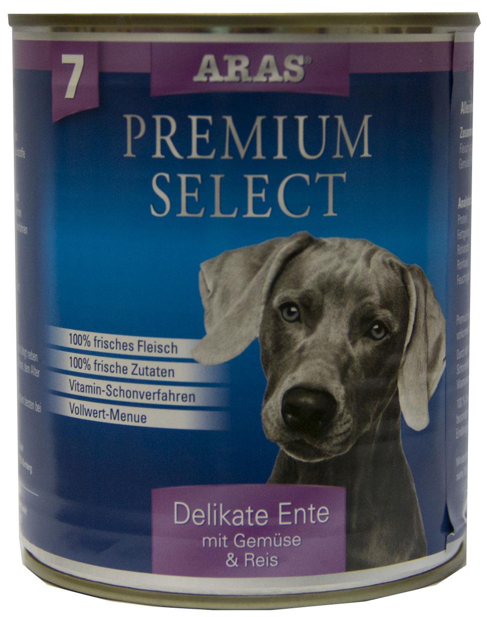 Консервы для собак Aras Premium Select, с уткой, овощами и рисом, 820 г5649021Консервы для собак Aras Premium Select - повседневный консервированный корм для собак всех пород и всех возрастов. Бережная обработка отборных ингредиентов высочайшего качества, используемых при изготовлении корма, обеспечивает вашего питомца здоровым и сбалансированным питанием. Благодаря содержанию высококачественного белка, полученного из свежего мяса, вашему питомцу требуется меньшее количества корма, чем кормов других марок. Особенности корма: - 80% содержание мяса- Изготовлен из 100% свежего мяса, пригодного в пищу человеку- Без химических красителей и усилителей вкуса- Без консервантов- Без химических добавок- Из 100% свежих ингредиентов- С экстрактом масла зародышей пшеницы холодного отжима- Сохранение натуральных витаминов в процессе изготовления- Гарантия свежестиСостав: свежее мясо утки 92%, овощи (морковь, лук-порей) 4%, рис 3%, экстракт зародышей пшеницы холодного отжима 1%.Пищевая ценность: белки 12,8%, жиры 6,1%, зола 1,9%, клетчатка 0,3%, влажность 77,6%.Товар сертифицирован.