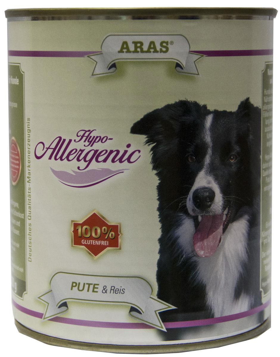 Консервы для собак Aras Hypo-Allergenic, гипоаллергенные, с индейкой и рисом, 820 г консервы для кошек aras premium deluxe паштет с домашней птицей 100 г