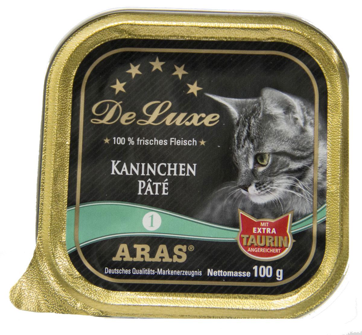 Консервы для кошек Aras Premium DeLuxe, паштет с кроликом, 100 г0120710Консервы для кошек Aras Premium DeLuxe - корм для самых привередливых кошек, сочетающий в себе высокое качество ингредиентов, жизненно важные питательные вещества, а также превосходный вкус. Корм произведен в Германии по специальной технологии, схожей с технологией Sous Vide, из продуктов, пригодных в пищу человека. При изготовлении сохраняются все натуральные витамины и минералы. Это достигается благодаря бережной обработке всех ингредиентов при температуре менее 80°С. Такая бережная обработка продуктов не стерилизует продуктовые компоненты. Благодаря этому корма не нуждаются ни в каких дополнительных вкусовых добавках и сохраняют все необходимые полезные вещества. Особенности корма Aras Premium DeLuxe: - изготовлен из 100% свежего мяса; - без химических красителей, усилителей вкуса, искусственных консервантов и химических добавок; - из 100% свежих ингредиентов: мясо, овощи и зерновые; - сохранение натуральных витаминов в процессе изготовления; - гарантия свежести; - с дополнительной порцией таурина. Состав: свежее мясо кролика 98%, минералы 2%, таурин 150 мг/кг. Пищевая ценность: белки 10,2%, жиры 5,3%, зола 2,4%, клетчатка 0,3%, влажность 79,9%.Товар сертифицирован.
