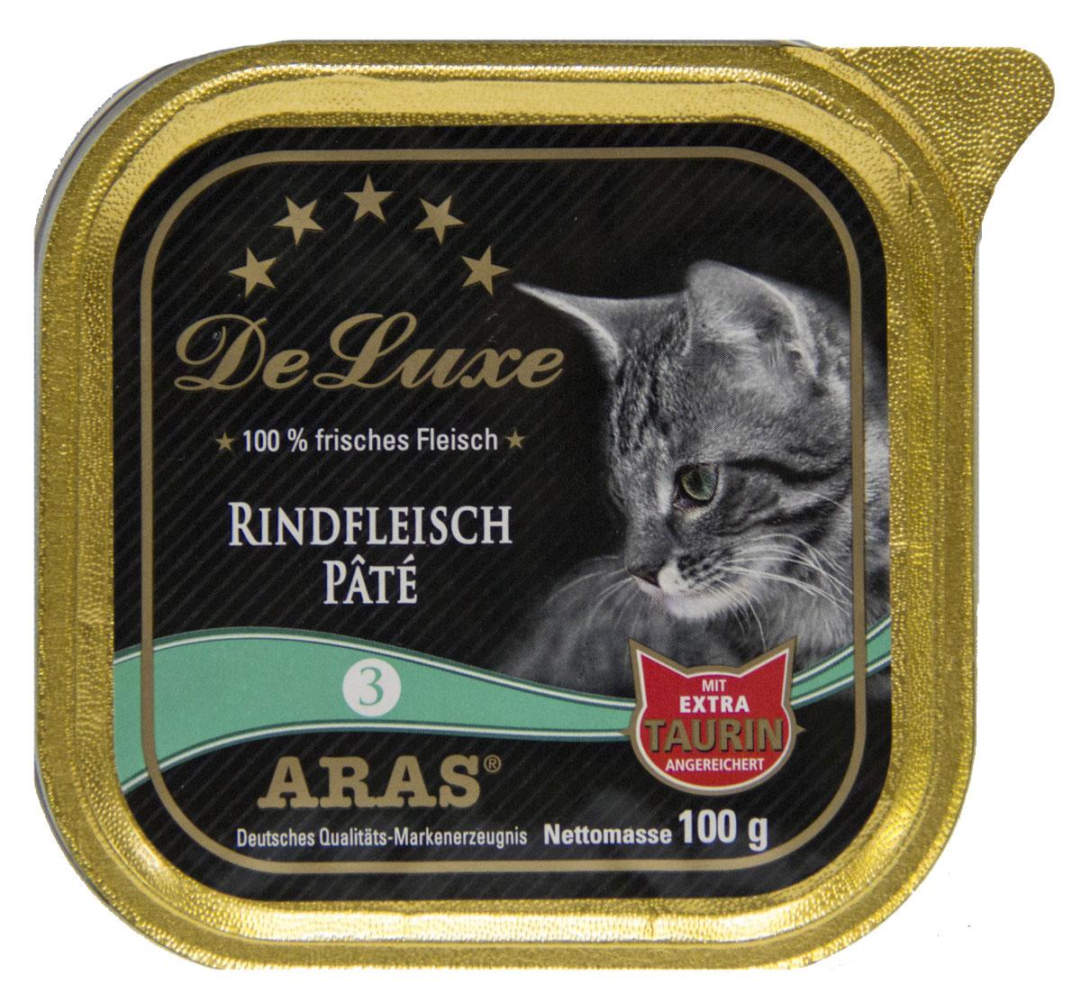 Консервы для кошек Aras Premium DeLuxe, паштет с говядиной, 100 г0120710Консервы для кошек Aras Premium DeLuxe - корм для самых привередливых кошек, сочетающий в себе высокое качество ингредиентов, жизненно важные питательные вещества, а также превосходный вкус. Корм произведен в Германии по специальной технологии, схожей с технологией Sous Vide, из продуктов, пригодных в пищу человека. При изготовлении сохраняются все натуральные витамины и минералы. Это достигается благодаря бережной обработке всех ингредиентов при температуре менее 80°С. Такая бережная обработка продуктов не стерилизует продуктовые компоненты. Благодаря этому корма не нуждаются ни в каких дополнительных вкусовых добавках и сохраняют все необходимые полезные вещества. Особенности корма Aras Premium DeLuxe: - изготовлен из 100% свежего мяса; - без химических красителей, усилителей вкуса, искусственных консервантов и химических добавок; - из 100% свежих ингредиентов: мясо, овощи и зерновые; - сохранение натуральных витаминов в процессе изготовления; - гарантия свежести; - с дополнительной порцией таурина. Состав: свежее мясо говядины 98%, минералы 2%, таурин 150 мг/кг. Пищевая ценность: белки 10,2%, жиры 5,3%, зола 2,4%, клетчатка 0,3%, влажность 79,9%.Товар сертифицирован.