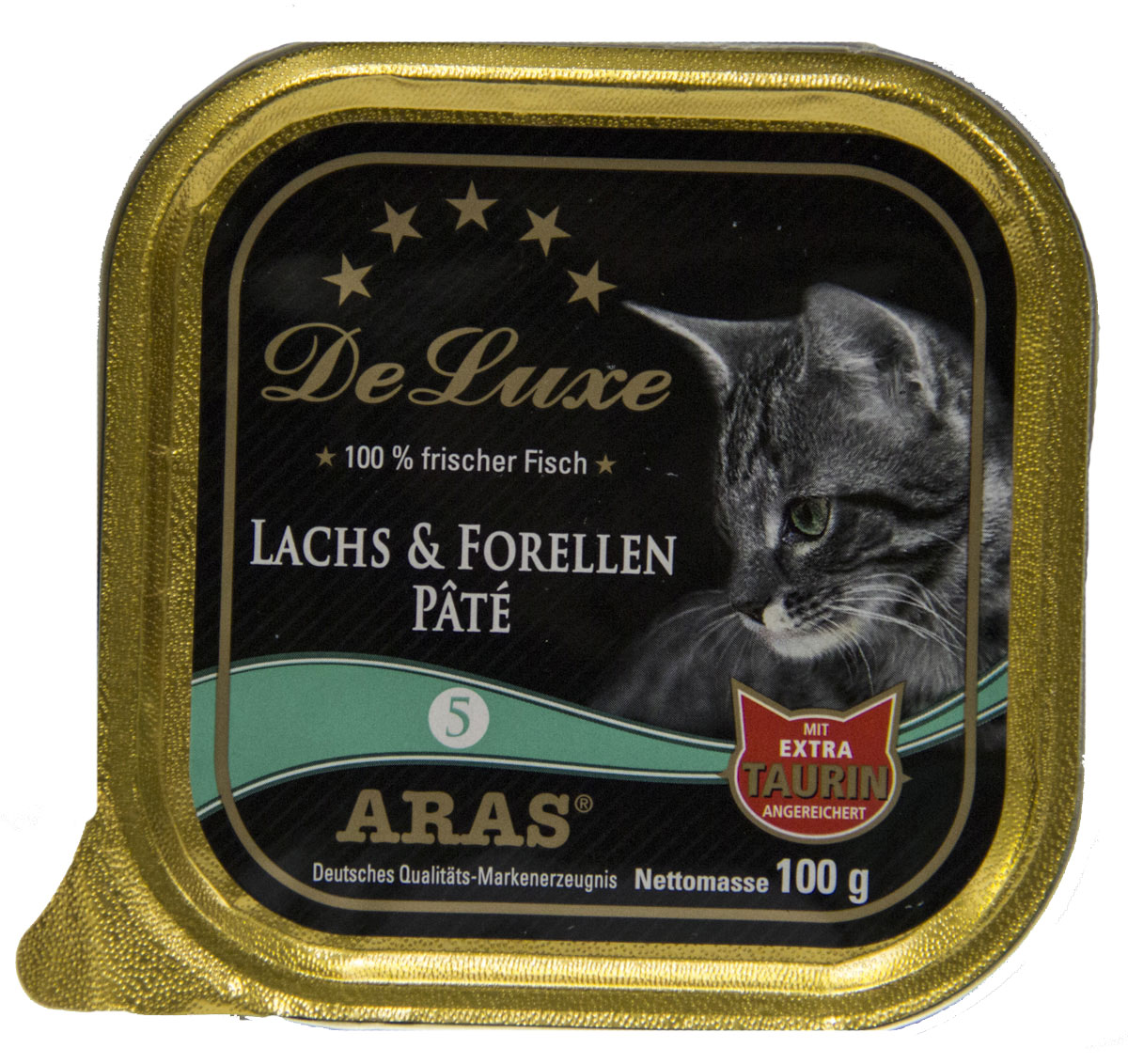 Консервы для кошек Aras Premium DeLuxe, паштет с семгой и форелью, 100 г0120710Консервы для кошек Aras Premium DeLuxe - корм для самых привередливых кошек, сочетающий в себе высокое качество ингредиентов, жизненно важные питательные вещества, а также превосходный вкус. Корм произведен в Германии по специальной технологии, схожей с технологией Sous Vide, из продуктов, пригодных в пищу человека. При изготовлении сохраняются все натуральные витамины и минералы. Это достигается благодаря бережной обработке всех ингредиентов при температуре менее 80°С. Такая бережная обработка продуктов не стерилизует продуктовые компоненты. Благодаря этому корма не нуждаются ни в каких дополнительных вкусовых добавках и сохраняют все необходимые полезные вещества. Особенности корма Aras Premium DeLuxe: - изготовлен из 100% свежего мяса; - без химических красителей, усилителей вкуса, искусственных консервантов и химических добавок; - из 100% свежих ингредиентов: мясо, овощи и зерновые; - сохранение натуральных витаминов в процессе изготовления; - гарантия свежести; - с дополнительной порцией таурина. Состав: свежее мясо семги и форели 97,5%, минералы 2,5%, таурин 150 мг/кг. Пищевая ценность: белки 10,2%, жиры 5,3%, зола 2,4%, клетчатка 0,3%, влажность 79,9%.Товар сертифицирован.