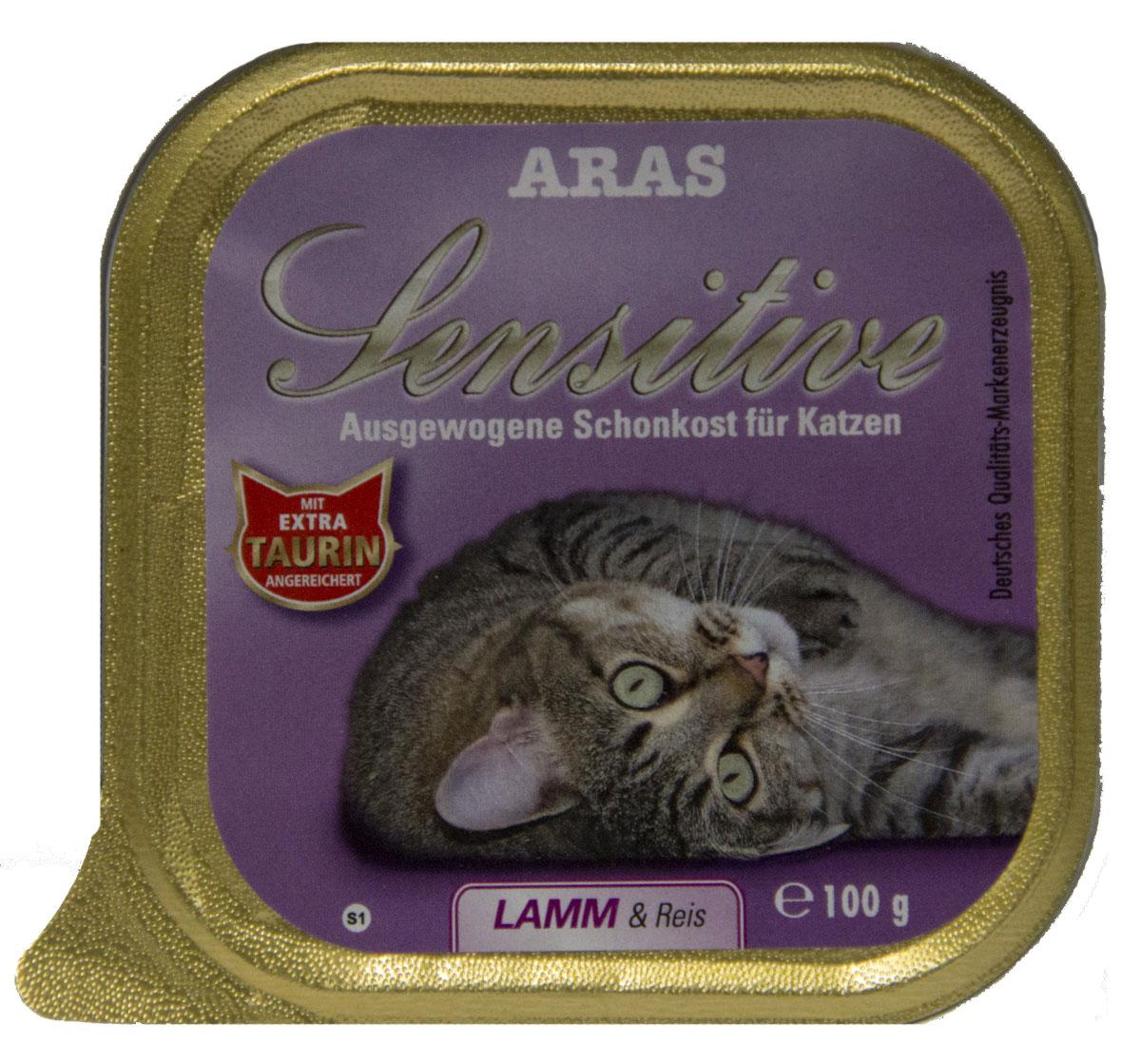 Консервы Aras Sensitive для кошек с чувствительным пищеварением, с бараниной и рисом, 100 г0120710Консервы Aras Sensitive - натуральное диетическое питание пониженной калорийности для кошек всех пород с чувствительным пищеварением, пожилых или с избыточным весом. Также идеально подходит для кошек с проблемами пищеварения и аллергиями. Особенности корма: - Приготовлен из стопроцентного мяса индейки или баранины- Без химических красителей, усилителей вкуса- Без искусственных консервантов- Без химических добавок- Со стопроцентным рисом - единственным источником углеводов- Исключительно из свежих ингредиентов- При производстве максимально сохранены витамины- Гарантия свежести- Дополнительная порция таурина- Диетическое питание пониженной калорийностиСостав: свежее мясо баранины и субпродукты 98%, рис 1%, минералы 1%, таурин 150мг/кг. Пищевая ценность: белки 8,1%, жиры 3,9%, зола 2,5%, клетчатка 0,3%, влажность 79,9%. Товар сертифицирован.