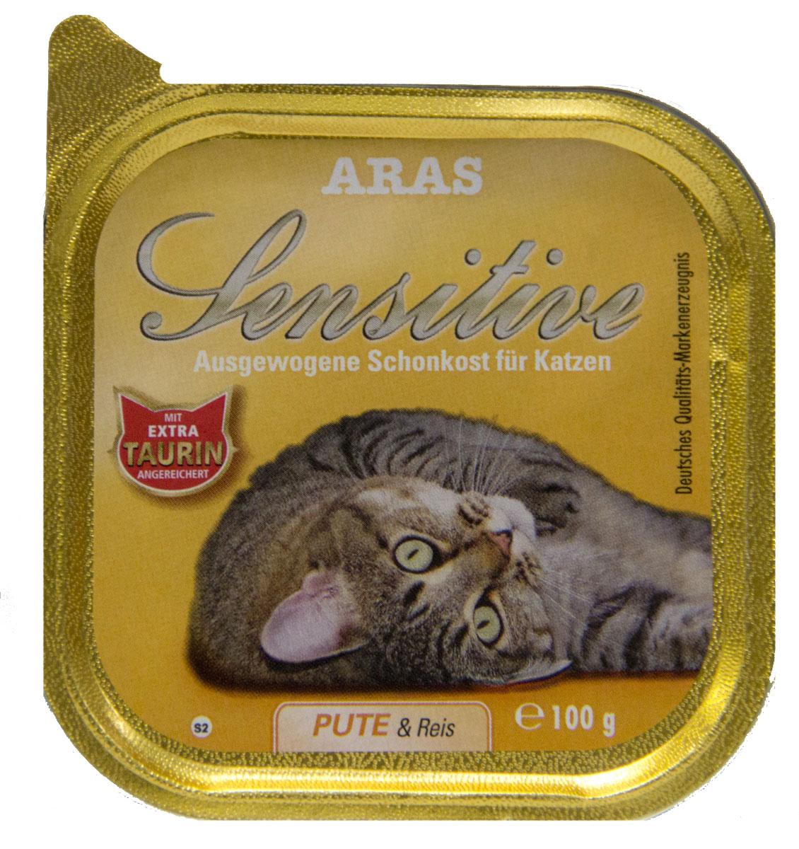 Консервы Aras Sensitive для кошек с чувствительным пищеварением, с индейкой и рисом, 100 г0120710Консервы Aras Sensitive - натуральное диетическое питание пониженной калорийности для кошек всех пород с чувствительным пищеварением, пожилых или с избыточным весом. Также идеально подходит для кошек с проблемами пищеварения и аллергиями. Особенности корма: - Приготовлен из стопроцентного мяса индейки или баранины- Без химических красителей, усилителей вкуса- Без искусственных консервантов- Без химических добавок- Со стопроцентным рисом - единственным источником углеводов- Исключительно из свежих ингредиентов- При производстве максимально сохранены витамины- Гарантия свежести- Дополнительная порция таурина- Диетическое питание пониженной калорийностиСостав: свежее мясо индейки и субпродукты 98%, рис 1%, минералы 1%, таурин 150 мг/кг. Пищевая ценность: белки 8,1%, жиры 3,9%, зола 2,5%, клетчатка 0,3%, влажность 79,9%. Товар сертифицирован.