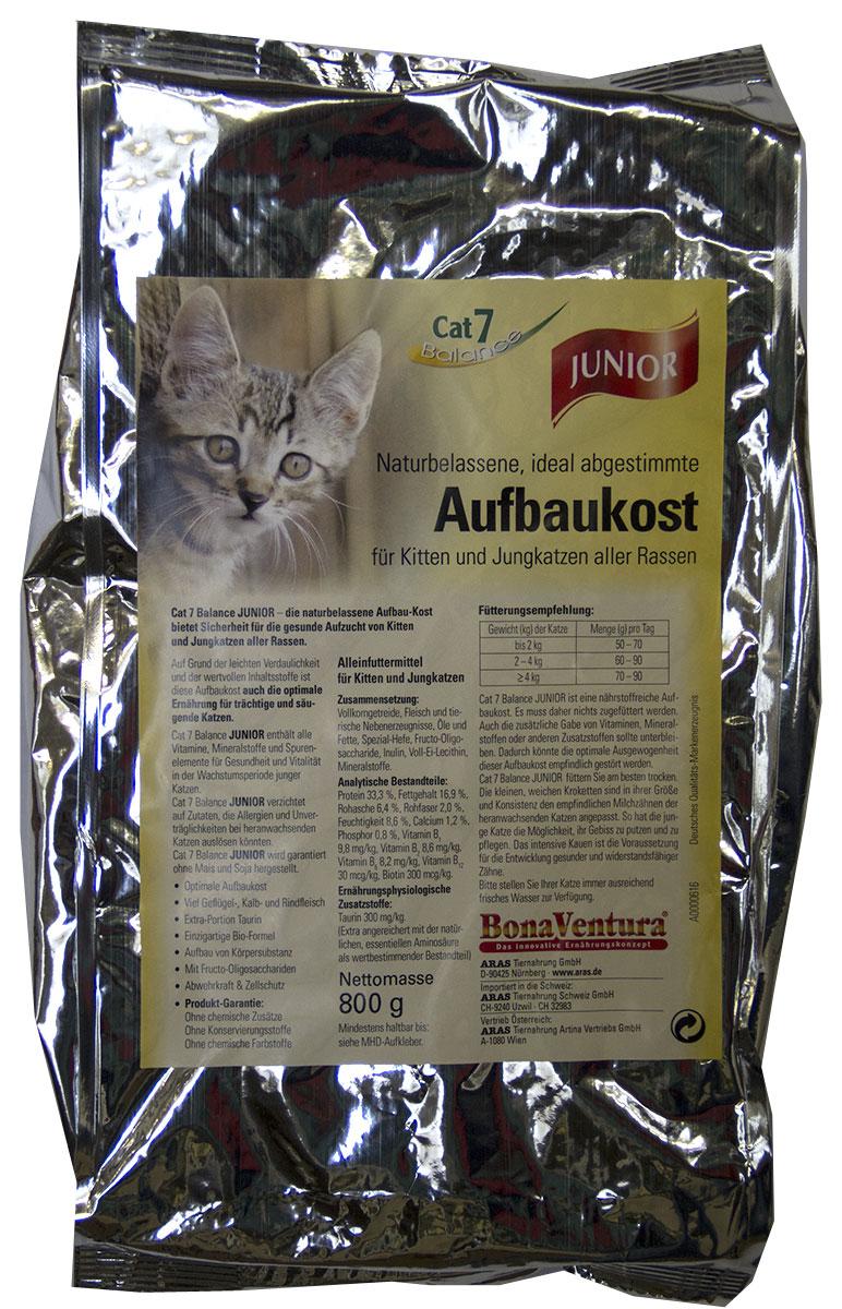 Корм сухой BonaVentura Cat 7 Junior, для котят и молодых кошек, 800 г0120710Натуральный высокопитательный корм гарантирует здоровый рост котят и молодых кошек всех пород. Благодаря легкоусвояемым и ценным ингредиентам, этот корм так же оптимально подходит для беременных и кормящих кошек.Корм произведен в Германии из продуктов, пригодных в пищу человека по специальной технологии схожей с технологией Sous Vide. Благодаря уникальной технологии, схожей с технологий Souse Vide, при изготовлении сохраняются все натуральные витамины и минералы. Это достигается благодаря бережной обработке всех ингредиентов при температуре менее 80 градусов. Такая бережная обработка продуктов не стерилизует продуктовые компоненты. Благодаря этому корма не нуждаются ни в каких дополнительных вкусовых добавках и сохраняют все необходимые полезные вещества.При производстве кормов используются исключительно свежие натуральные продукты: мясо, овощи и зерновые; Приготовлено из 100% свежего мяса, пригодного в пищу человеку; Содержит натуральные витамины, аминокислоты, минеральные вещества и микроэлементы; С экстрактом масла зародышей зерна пшеницы холодного отжима (Bio-Dura); Без химических красителей, усилителей вкуса, искусственных консервантов и химических добавок; Без ГМО; Без мясокостной муки; Без сои;состав: свежее мясо, печень, сердце говядины, телятины, утки и индейки 55%, цельные зерна пшеницы, овса и риса 25%, говяжий жир, пивные дрожжи, фрукто-олигосахариды, инулин, лецитин из цельного яйца, таурин, витамины и минералы пищевая ценность: Белки 33,1%, Жиры 11,9%, Клетчатка 2,7%, Зола 4,9%, Влажность 8,6%, Кальций 1,3%, Фосфор 0,9%, Витамин B1 9,8мг/кг, Витамин B2 8,6мг/кг, Витамин B6 8,2мг/кг, Витамин B12 30мкг/кг, Биотин 300мкг/кг , Таурин 300мг/кг