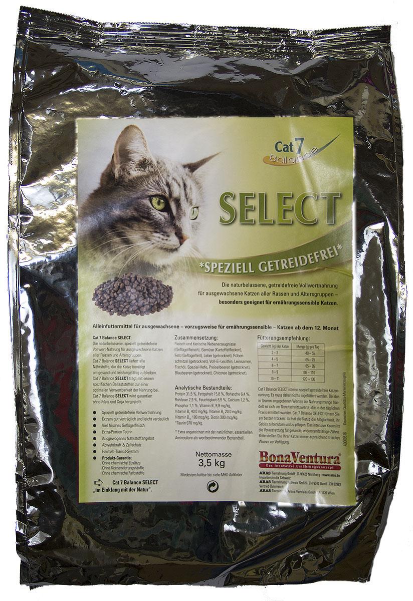 Корм сухой BonaVentura Cat 7 Select, для взрослых кошек, беззерновой, 3,5 кг0120710Натуральный беззерновой полнорационный корм для взрослых кошек всех пород и возрастов. Идеально подходит для кошек с проблемами пищеварения.Корм произведен в Германии из продуктов, пригодных в пищу человека по специальной технологии схожей с технологией Sous Vide. Благодаря уникальной технологии, схожей с технологий Souse Vide, при изготовлении сохраняются все натуральные витамины и минералы. Это достигается благодаря бережной обработке всех ингредиентов при температуре менее 80 градусов. Такая бережная обработка продуктов не стерилизует продуктовые компоненты. Благодаря этому корма не нуждаются ни в каких дополнительных вкусовых добавках и сохраняют все необходимые полезные вещества.При производстве кормов используются исключительно свежие натуральные продукты: мясо, овощи и зерновые; Приготовлено из 100% свежего мяса, пригодного в пищу человеку; Содержит натуральные витамины, аминокислоты, минеральные вещества и микроэлементы; С экстрактом масла зародышей зерна пшеницы холодного отжима (Bio-Dura); Без химических красителей, усилителей вкуса, искусственных консервантов и химических добавок; Без ГМО; Без мясокостной муки; Без сои;состав: свежее мясо, печень, сердце утки и индейки, натуральный картофель, жир домашней птицы, дегидрированная печень, сушеная свекла, лецитин из цельного яйца, семена льна, рыбий жир, пивные дрожжи, сушеная клюква, сушеная черника, сушеный цикорий.пищевая ценность: Протеин 31,5%, Жиры 15,8%, Клетчатка 2,9%, Зола 6,4%, Влажность 8,5%, Кальций 1,2%, Фосфор 1,1%, Витамин B1 9,9 мг/кг, Витамин B2 40,0 мг/кг, Витамин B6 20,0мг/кг, Витамин B12 180 мкг/кг, Биотин 300 мкг/кг, Таурин 970 мг/кг