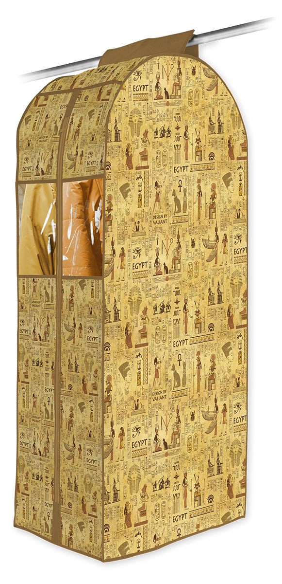 Кофр подвесной для одежды Valiant Egypt, 108 х 60 х 30 см1004900000360Подвесной кофр для одежды Valiant  Egypt изготовлен из высококачественного нетканого материала (спанбонда), который обеспечивает естественную вентиляцию, позволяя воздуху проникать внутрь, но не пропускает пыль. Кофр очень удобен в использовании. Благодаря размерам и форме отлично подходит для транспортировки и долговременного хранения одежды (летом - теплых курток и пальто, зимой - летнего гардероба). Легко открывается и закрывается с помощью застежки-молнии. Кофр снабжен прозрачным окошком из ПВХ, что позволяет легко просматривать содержимое. Изделие снабжено широкой петлей на липучках, с помощью которой крепится к перекладине в гардеробе. Оригинальный дизайн погружает в атмосферу путешествий по разным городам и странам. Системы хранения в едином дизайне сделают вашу гардеробную красивой и невероятно стильной.