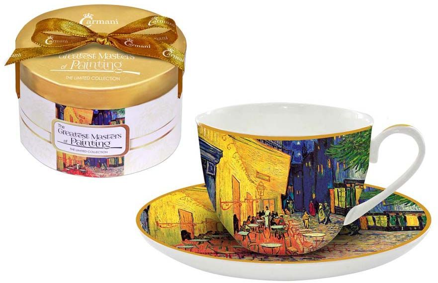 Чайная пара Carmani Ночная терраса кафе, 2 предмета10481-10Чайная пара Carmani Ночная терраса кафе состоит из чашки и блюдца, изготовленных из высококачественного костяного фарфора. Яркий дизайн изделий, несомненно, придется вам по вкусу.Чайная пара Carmani Ночная терраса кафе украсит ваш кухонный стол, а также станет замечательным подарком к любому празднику.Объем чашки: 250 мл.