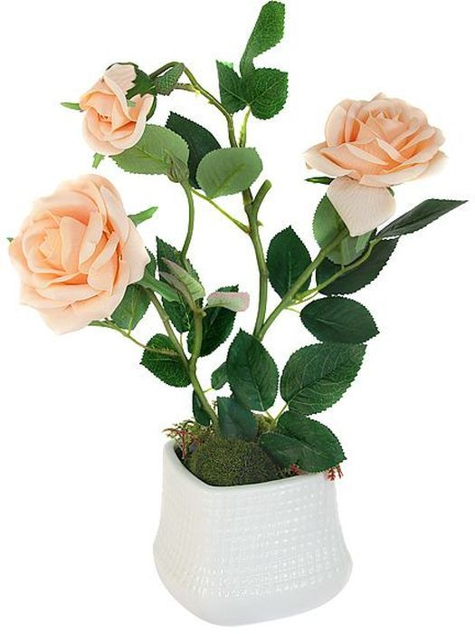 Цветы декоративные Dream Garden  Розы , в вазе, 25 х 11 х 35 см -  Садовый декор