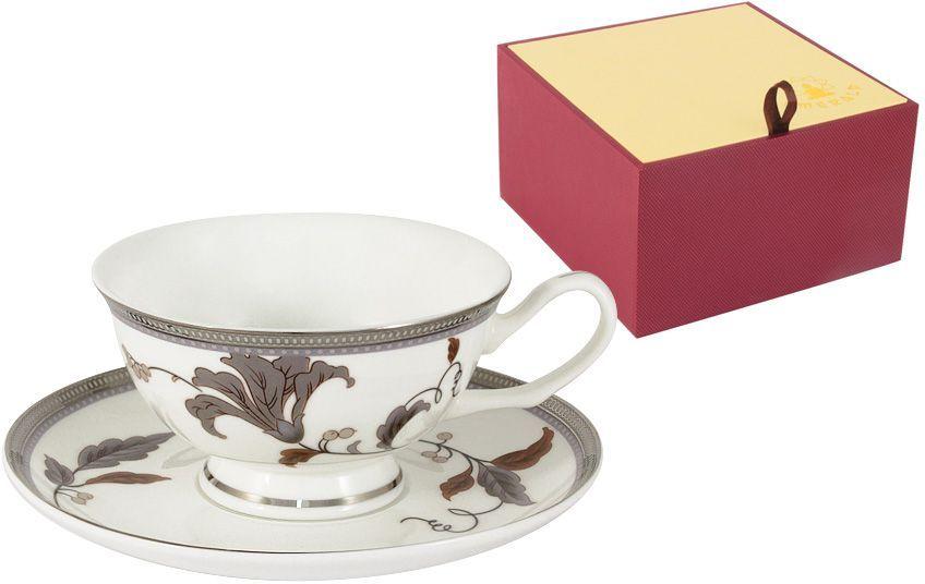 Чайная пара Emerald Серебряный лист, 2 предмета115510Чайная пара Emerald Серебряный лист состоит из чашки и блюдца, изготовленных из высококачественного костяного фарфора. Яркий дизайн изделий, несомненно, придется вам по вкусу.Чайная пара Emerald Серебряный лист украсит ваш кухонный стол, а также станет замечательным подарком к любому празднику.Объем чашки: 200 мл.