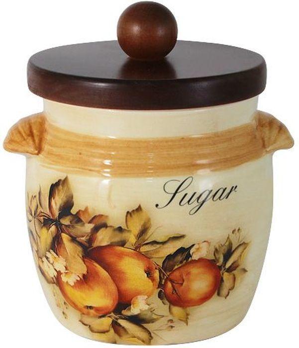 Банка для сахара LCS Зимние яблоки, с крышкой, 750 млСТР00000303Банка LCS Зимние яблоки выполнена из высококачественной керамики и оформлена ярким рисунком. Изделие идеально подойдет для хранения сахара или других сыпучих продуктов. Емкость легко закрывается крышкой из дерева. Функциональная и вместительная, такая банка станет незаменимым аксессуаром и стильно оформит интерьер кухни.