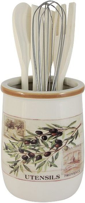 Набор кухонных принадлежностей LF Ceramic Оливки, с подставкой, 5 предметов54 009312Набор LF Ceramic Оливки состоит из ложки кулинарной, вилки, венчика, лопатки и подставки. Подставка выполнена из высококачественной керамики и декорирована ярким рисунком. Дизайн, эстетичность и функциональность подставки позволят ей стать достойным дополнением к кухонному инвентарю. Вилка, лопатка и ложка изготовлены из натурального дерева, а венчик - из металла. Данный набор придаст вашей кухне элегантность, подчеркнет индивидуальный дизайн и превратит приготовление еды в настоящее удовольствие.