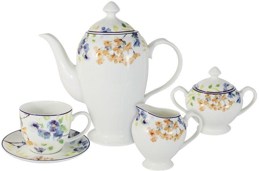 Чайный сервиз Primavera Fine Bone China Акварель, 15 предметов, 6 персон. PWW-150248-15AL