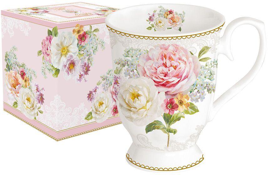 Кружка Nuova R2S Цветочная романтика, 300 мл386430Кружка Nuova R2S Цветочная романтика изготовлена из высококачественного костяного фарфора с глазурованным покрытием и оформлена изящным цветочным рисунком. Изделие легкое, белоснежное и прочное. Такая кружка станет отличным приобретением для кухни. Благодаря красочному дизайну это идеальный подарок друзьям и близким.