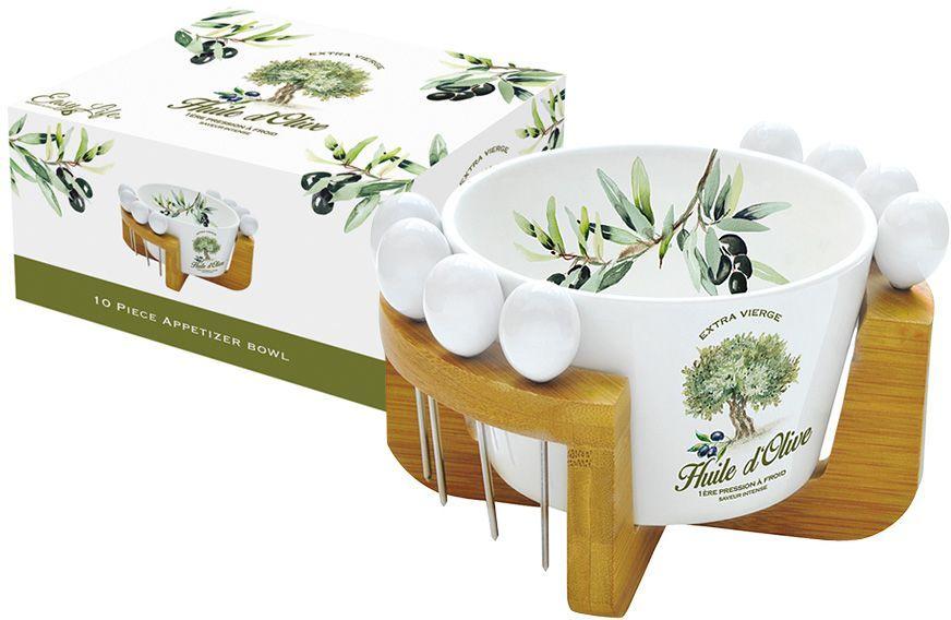 Набор посуды для закусок Nuova R2S Прованс, 10 предметовКотСерый Кот_бант/цветокНабор посуды для закусок Nuova R2S Прованс состоит из емкости, 8 металлических шпажек и бамбуковой подставки. Емкость выполнена из высококачественного фарфора. Изделие легкое, белоснежное и прочное. Нанесение сверкающей глазури, не содержащей свинца, придает посуде превосходный блеск и особую прочность. Емкость украшена изображением оливкового дерева, поэтому идеально подойдет для оливок и маслин, а также и других закусок, например, фруктов, нарезанных небольшими кусочками. Такой набор станет практичным приобретением и подчеркнет ваш прекрасный вкус. Диаметр емкости: 15 см.