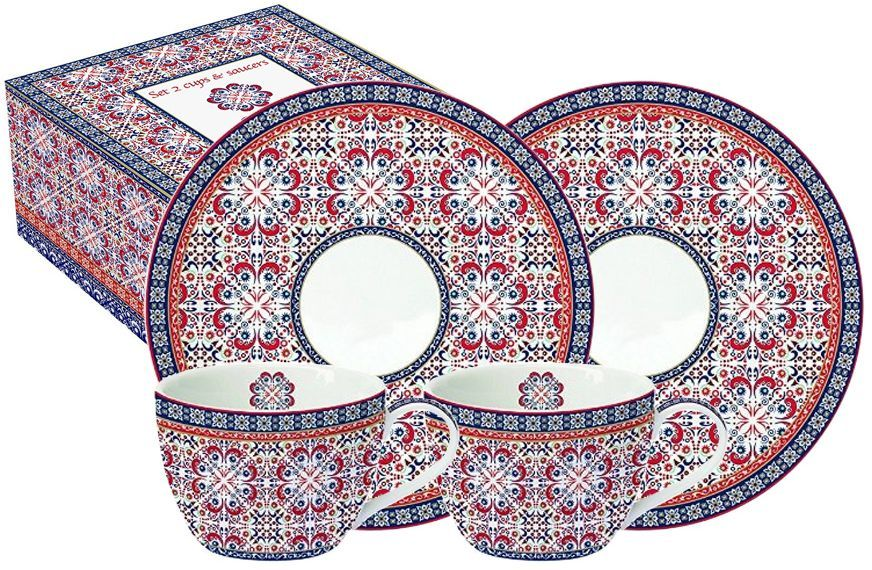 Набор чайный Nuova R2S Мавритания, 4 предметаR2S922/ALHA-ALНабор чайный Nuova R2S Мавритания состоит из двух чашек и двух блюдец. Изделия выполнены из высококачественного фарфора. Нанесение сверкающей глазури, не содержащей свинца, придает посуде превосходный блеск и особую прочность. Внешние стенки декорированы красивыми узорами в этническом стиле. Такой набор станет отличным приобретением для кухни. Благодаря красочному дизайну он отлично дополнит интерьер кухни и подчеркнет ваш безупречный вкус. Продукция компании Nuova R2S отличается современным дизайном и легкостью в эксплуатации. Компания работает в тесном сотрудничестве с лучшими итальянскими художниками и дизайнерами. Объем чашки: 240 мл.
