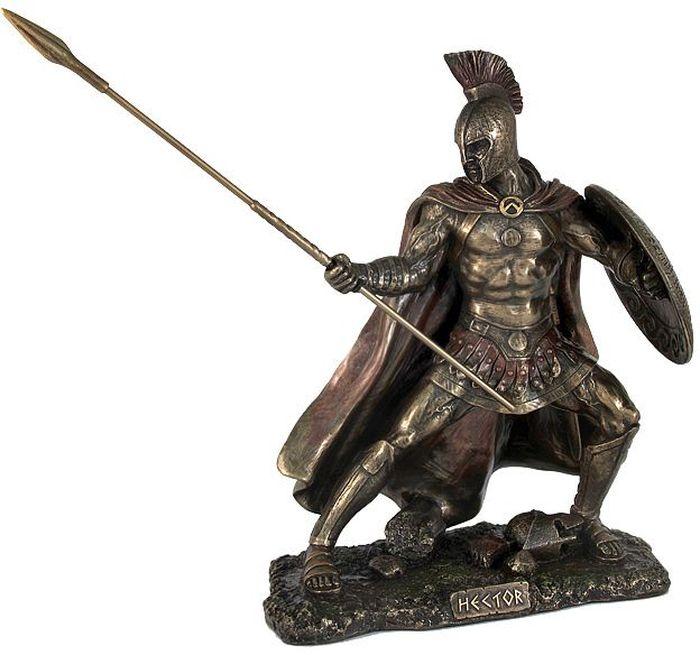 Статуэтка Veronese Гектор, высота 26,5 смБрелок для ключейДекоративная статуэтка Veronese Гектор изготовлена из полистоуна бронзового цвета. Полистоун представляет собой специальную массу с полимерными связующими материалами, которые абсолютно не токсичны. Изделие выполнено в виде героя Гектора, который держит в руках копье и щит.Вы можете поставить статуэтку в любом месте, где она будет удачно смотреться и радовать глаз. Такая фигурка прекрасно дополнит интерьер офиса или дома. Veronese - это торговая марка, представляющая широкий ассортимент художественных изделий из полистоуна, выполненных по эскизам итальянских дизайнеров и художников.
