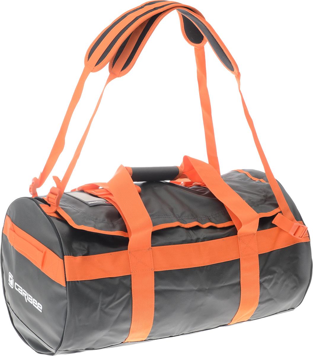 Сумка спортивная Caribee Kokoda, цвет: темно-серый, оранжевый, 65 л7021.2Сумка Caribee Kokoda имеет стильный дизайн, легкий вес и большую вместительность! Она выполнена из материала, устойчивого к промоканию даже в штормовую погоду. Стойкие к воде молнии. Изделие оснащено регулируемыми плечевыми ремнями, позволяющими превратить сумку в рюкзак. Вшитые по всей окружности стяжки служат для дополнительной прочности. Сумка была разработана с учетом привлекательного вида, практичной функциональности и прочной конструкции. Будьте уверены, что вы доберетесь до места назначения и ваш багаж будет в полной сохранности!Собираясь в поход с такой сумкой, вы можете позволить себе взять все необходимые вещи. Объем: 65 л.