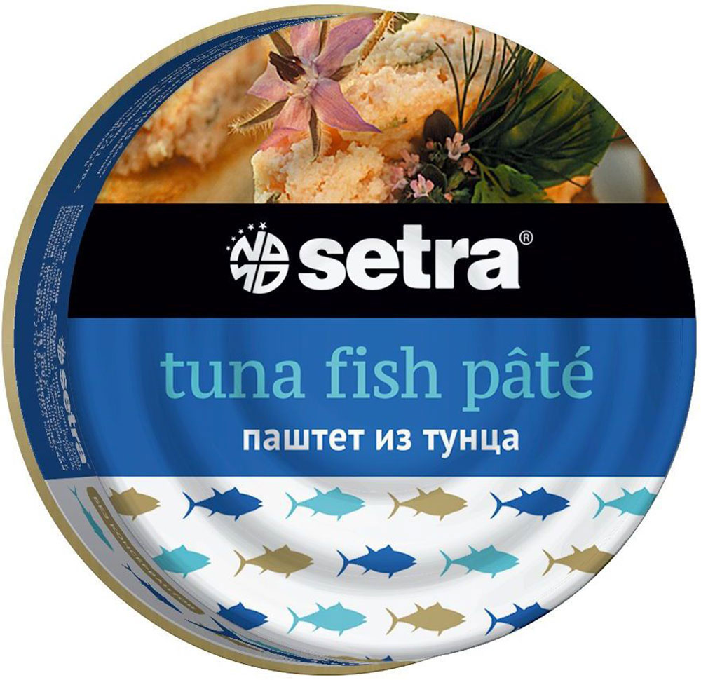 Setra паштет из тунца, 80 г0120710Паштет из тунца Setra - это вкусный, удобный в использовании и очень полезный продукт, обладающий высокой питательной ценностью.Он является богатым источником протеинов и минералов. Изготовленный из качественных кусочков рыбы, оливкового масла и натуральных специй, он может использоваться ежедневно на бутерброды или в качестве универсального ингредиента, а также начинки для разнообразных блюд. Продукт обладает гладкой и нежной текстурой.