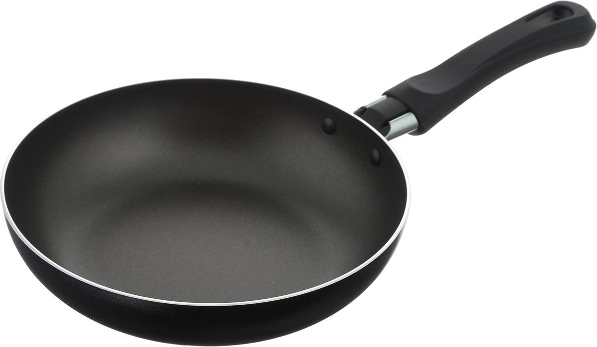 Сковорода Flonal Black & Silver, с тефлоновым покрытием, диаметр 18 см68/5/3Сковорода тефлоновая Flonal Black & Silver изготовлена из 100% пищевого алюминия. Благодаря тефлоновому покрытию, пища не пригорает к сковороде. Легко моется. Можно готовить с минимальным количеством жира. Быстрый нагрев сохраняет пищевую ценность продукта. Энергия используется рационально.Сковорода оснащена удобной пластиковой ручкой.Подходит для использования на газовых, электрических и стеклокерамических плитах. Можно мыть в посудомоечной машине.Диаметр сковороды (по верхнему краю): 18 см.Высота стенки: 4 см.Длина ручки: 13,5 см.