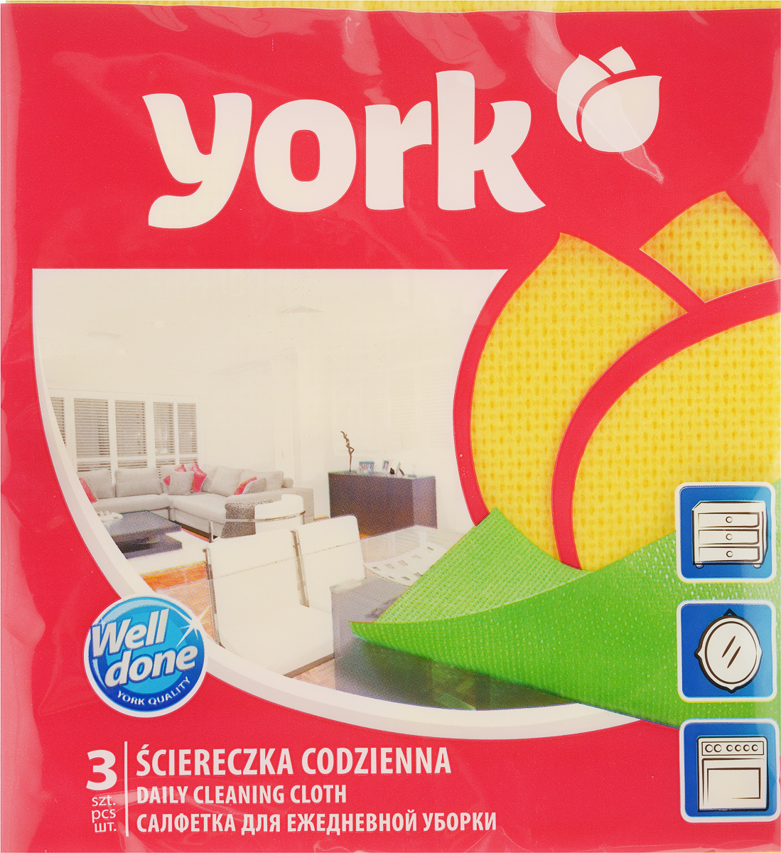 Салфетка для ежедневнойуборки York Ламбада, цвет: желтый, 37 х 40 см, 3 шт2106_желтыйУниверсальная салфетка York Ламбада предназначена для мытья, протирания и полировки различных поверхностей. Салфетка, выполненная из вискозы, отличается высокой прочностью. Салфетка хорошо поглощает влагу. Идеальна для ухода за столешницами и раковиной, а также для мытья посуды. Может использоваться в сухом и влажном виде.В комплекте 3 салфетки.Размер салфетки: 37 х 40 см.