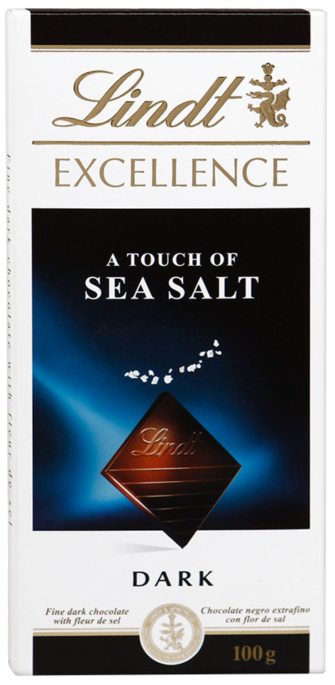 Lindt Excellence темный шоколад с морской солью, 100 г3046920029674Откройте необыкновенное сочетание завораживающего темного шоколада и чистейших кристаллов морской соли, собранных вручную. Это неожиданное сочетание способно удивить любителя шоколада с самым взыскательным вкусом, ведь морская соль особенным образом подчеркивает вкус и сладость какао.Уважаемые клиенты! Обращаем ваше внимание, что полный перечень состава продукта представлен на дополнительном изображении.