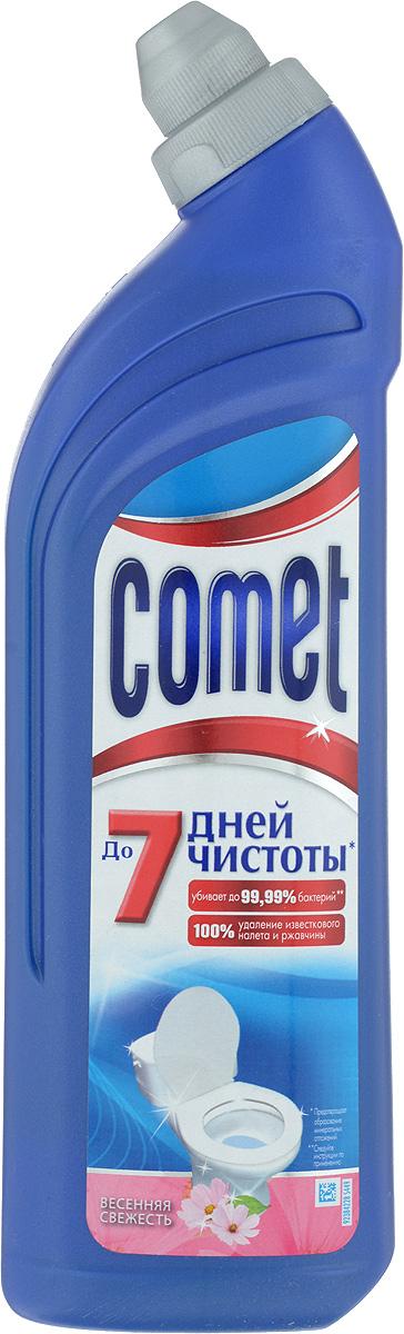 Средство чистящее для туалета Comet, весенняя свежесть, 750 мл68/5/3Чистящее средство для туалета Comet сохраняет и продлевает чистоту до 7 дней, благодаря защитному слою. Средство отлично чистит и удаляет известковый налет и ржавчину, а также дезинфицирует поверхность. Придает свежий аромат.Товар сертифицирован.
