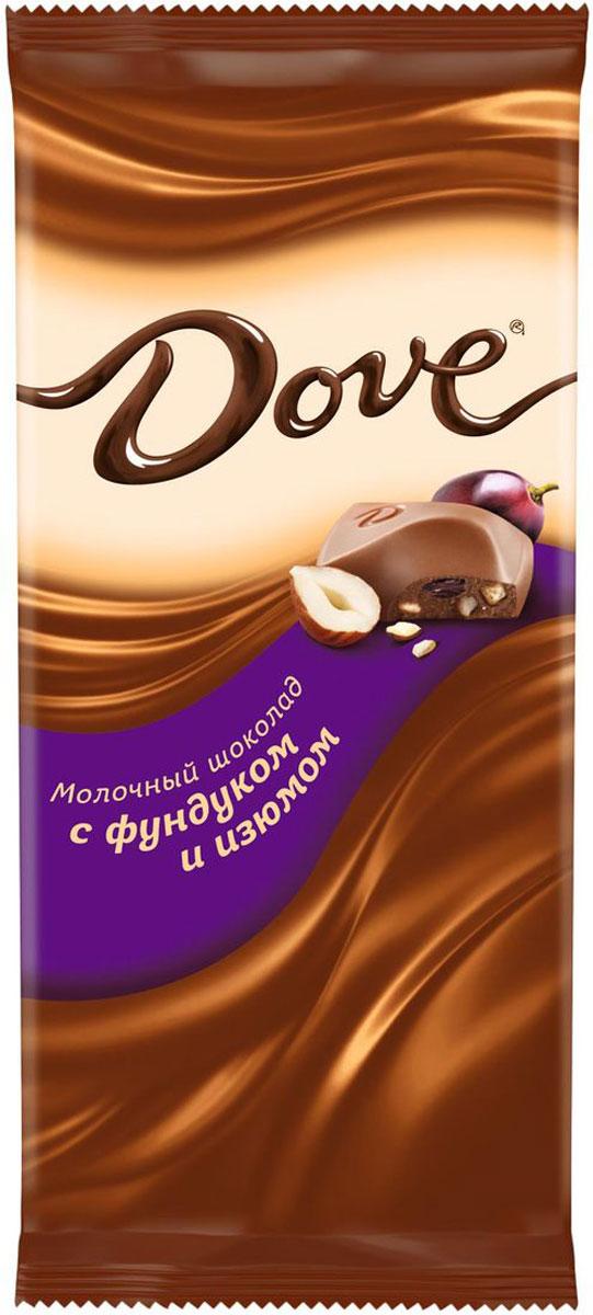Dove молочный шоколад с фундуком и изюмом, 90 г0120710Молочный шоколад Dove с фундуком и изюмом нежный, как шелк: такой же обволакивающий, роскошный, соблазнительный. Шоколад изготовлен только из высококачественных, натуральных ингредиентов. Окунитесь в шелковое удовольствие!Уважаемые клиенты! Обращаем ваше внимание, что полный перечень состава продукта представлен на дополнительном изображении.