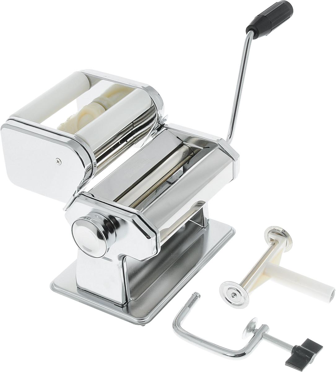 Машинка для изготовления пельменей BekkerBK-5202Машинка для изготовления пельменей Bekker выполнена из нержавеющей стали. Машинка состоит из нескольких частей: блок для раскатки теста, регулятор толщины теста, блок для изготовления пельменей, ручка, нож для резки теста, фиксатор. С помощью такой машинки очень легко готовить пельмени: - прокатите тесто через машинку; - разделите пласт таким образом, чтобы его стороны лежали по разные стороны от валиков; равномерно распределите начинку между сторонами пласта; - поворачивайте ручку машинки, добавляя начинку по мере необходимости; - после того, как весь пласт пройдет через валки, положите его на сухое полотенце и разделите на пельмени.Теперь приготовление пельменей займет у вас намного меньше времени и станет приятным домашним занятием, а ваши кулинарные шедевры, приготовленные с помощью такого прибора, обязательно оценят по достоинству.