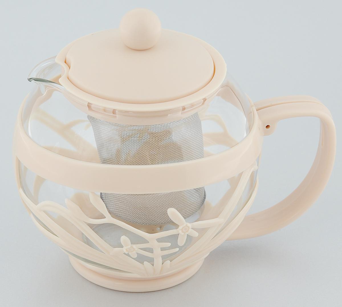 Чайник заварочный Menu Мелисса, с фильтром, цвет: прозрачный, бежевый, 750 млVT-1520(SR)Чайник Menu Мелисса изготовлен из прочного стекла и пластика. Он прекрасно подойдет для заваривания чая и травяных напитков. Классический стиль и оптимальный объем делают его удобным и оригинальным аксессуаром. Изделие имеет удлиненный металлический фильтр, который обеспечивает высокое качество фильтрации напитка и позволяет заварить чай даже при небольшом уровне воды. Ручка чайника не нагревается и обеспечивает безопасность использования. Нельзя мыть в посудомоечной машине. Диаметр чайника (по верхнему краю): 8 см.Высота чайника (без учета крышки): 11 см.Размер фильтра: 6 х 6 х 7,2 см.