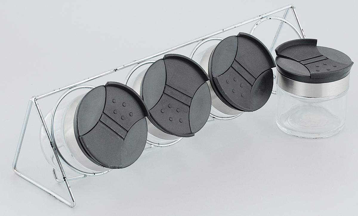 Набор для специй Amadeus, на подставке, 5 предметов115510Набор для специй Amadeus, изготовленный из стекла, состоит из четырех емкостей и подставки для них. Пластиковые крышки с элегантным стальным ободком имеют два открывающихся отверстия. Диаметр емкости: 5,5 см.Высота емкости (с учетом крышки): 6,5 см.Размер подставки: 29,5 х 8 х 8 см.