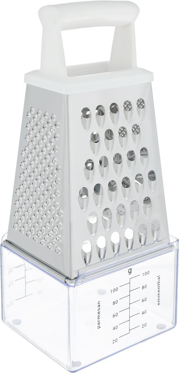 Терка четырехгранная Tescoma Handy, с контейнером, цвет: стальной, белый, высота 17 см115510Терка Tescoma Handy изготовлена из высококачественной нержавеющей стали. Изделие оснащено удобной ручкой, выполненной из пластика, которая не позволит терке выскользнуть из рук. На одной терке представлены несколько видов терок - крупная, мелкая, терки для овощных пюре (крупная и мелкая), а также шинковка. К изделию прилагается контейнер со шкалой для мелко натертого пармезана, крупно натертого сыра эментальского типа, сыпучих продуктов и жидкостей.Каждая хозяйка оценит все преимущества этой терки. Благодаря этому изделию можно удовлетворить любые потребности по нарезке различных продуктов. Наслаждайтесь приготовлением пищи с многофункциональной теркой Tescoma Handy. Изделие можно мыть в посудомоечной машине. Высота терки (с учетом контейнера): 22 см. Размер емкости: 7,5 х 8,5 х 6 см.
