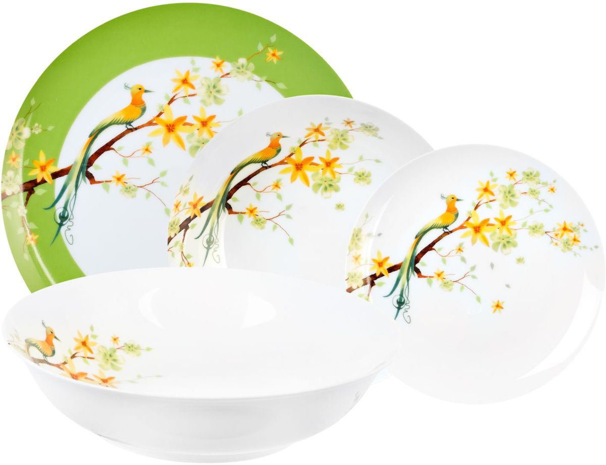 Столовый набор Domenik Paradise Bird, 19 предметов. DM9012VT-1520(SR)Столовый набор Domenik  Paradise Birdсостоит из 6 суповых тарелок, 6 обеденных тарелок, 6 десертных тарелок и салатника. Изделия выполнены из фарфора и дополнены дизайном в виде птиц. Посуда отличается прочностью, гигиеничностью и долгим сроком службы. Такой набор прекрасно подойдет как для повседневного использования, так и для праздников или особенных случаев. Столовый набор - это не только яркий и полезный подарок для родных и близких, это также великолепное дизайнерское решение для вашей кухни или столовой.