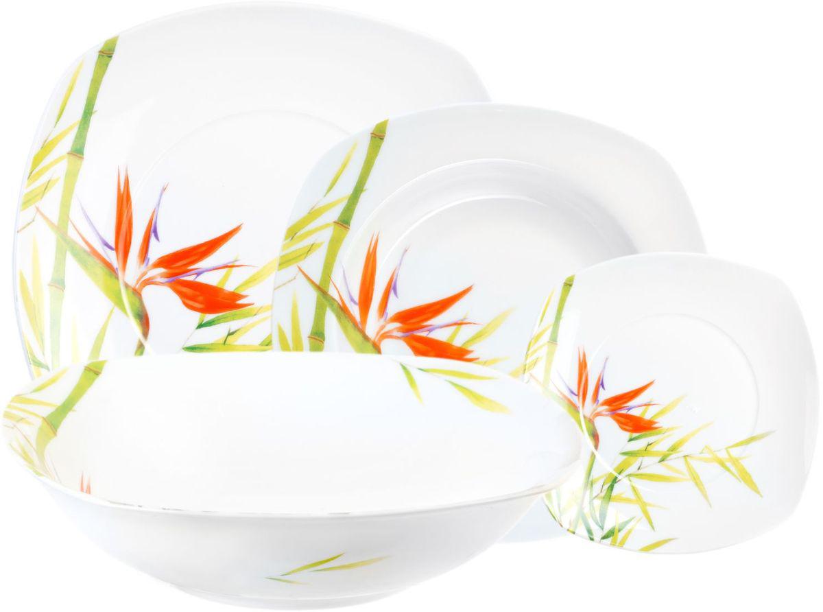 Столовый набор Domenik Bamboo, 19 предметов. DM9032DM9032Столовый набор Domenik Bambooсостоит из 6 суповых тарелок, 6 обеденных тарелок, 6 десертных тарелок и салатника. Изделия выполнены из фарфора, с цветочным дизайном. Посуда отличается прочностью, гигиеничностью и долгим сроком службы. Такой набор прекрасно подойдет как для повседневного использования, так и для праздников или особенных случаев. Столовый набор - это не только яркий и полезный подарок для родных и близких, это также великолепное дизайнерское решение для вашей кухни или столовой.