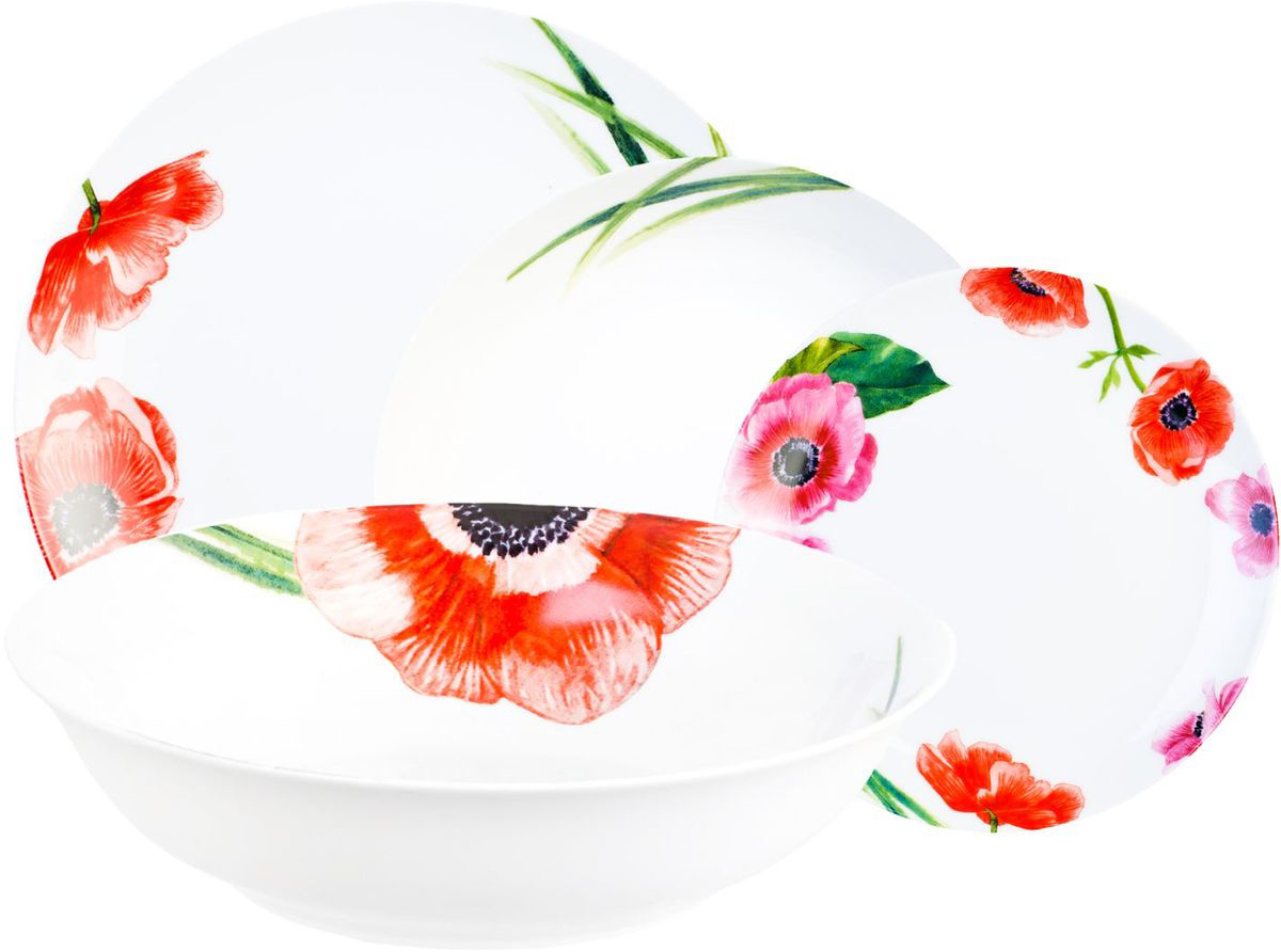 Столовый набор Domenik Blooming, 19 предметов. DM915354 009312Столовый набор Domenik Blooming - полностью оправдывает свое название, что в переводе с английского обозначает «цветущий». В оформление данной серии были взяты изображения распускающихся тюльпанов. Красно-сиреневые оттенки данного набора подчеркнут красоту вашего стола и уют вашей кухни.