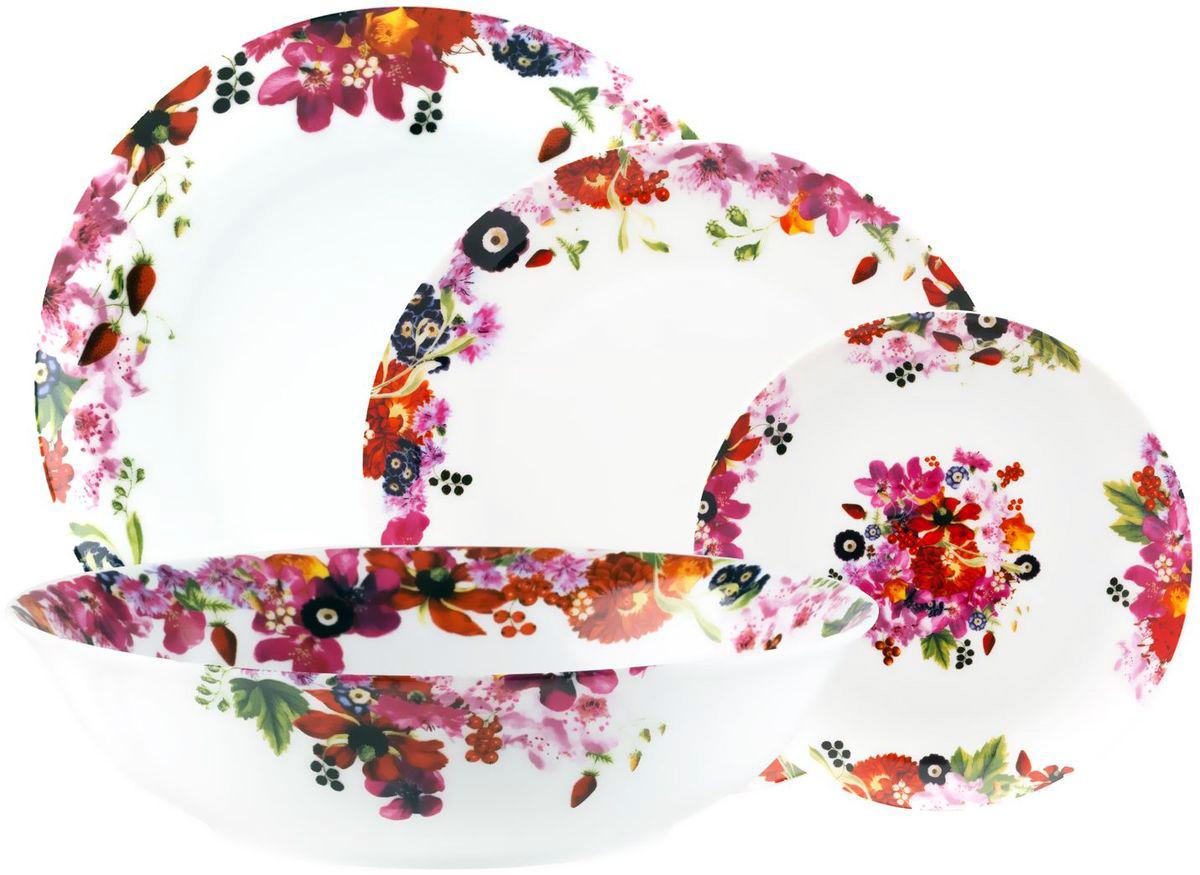 Столовый набор Domenik Fruits Bouquet, 19 предметов. DM9213115510Столовый набор Domenik Fruits Bouquet - элегантный столовый набор с нестандартной формой тарелок и плетеным узором, напоминающим кружевную паутину.