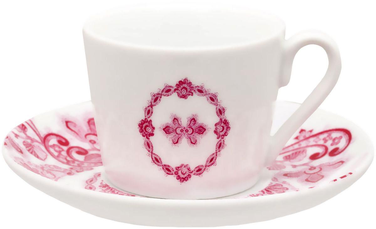 Чайный набор Domenik Boudoir, цвет: белый, бордовый, 12 предметов. DM9234VT-1520(SR)Чайный набор Domenik Boudoir из 12 предметов порадует не только вас, но и ваших гостей. Он изготовлен из высококачественного фарфора, обеспечивающего неограниченный срок эксплуатации. Благодаря привлекательному внешнему виду посуда с легкостью украсит любой интерьер кухни. Она неприхотлива в использовании, ее можно мыть в посудомоечной машине, а также использовать в микроволновой печи. Данная модель выполнена в белом цвете и украшена изысканным рисунком. Комплектация: Чашка 250 мл - 6 шт.Блюдце - 6 шт.